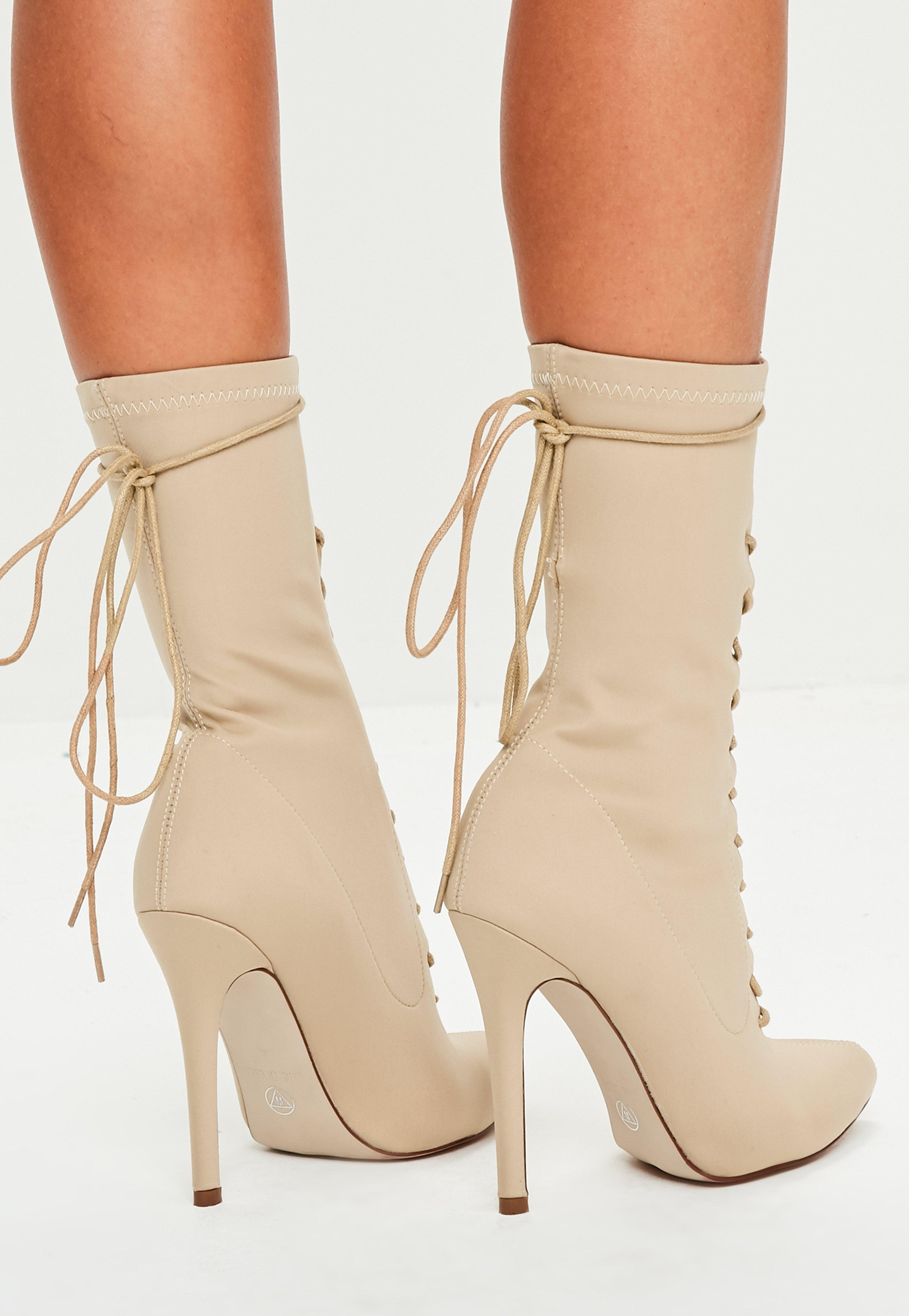 Nude Pointed Lace Up Ankle Boots
