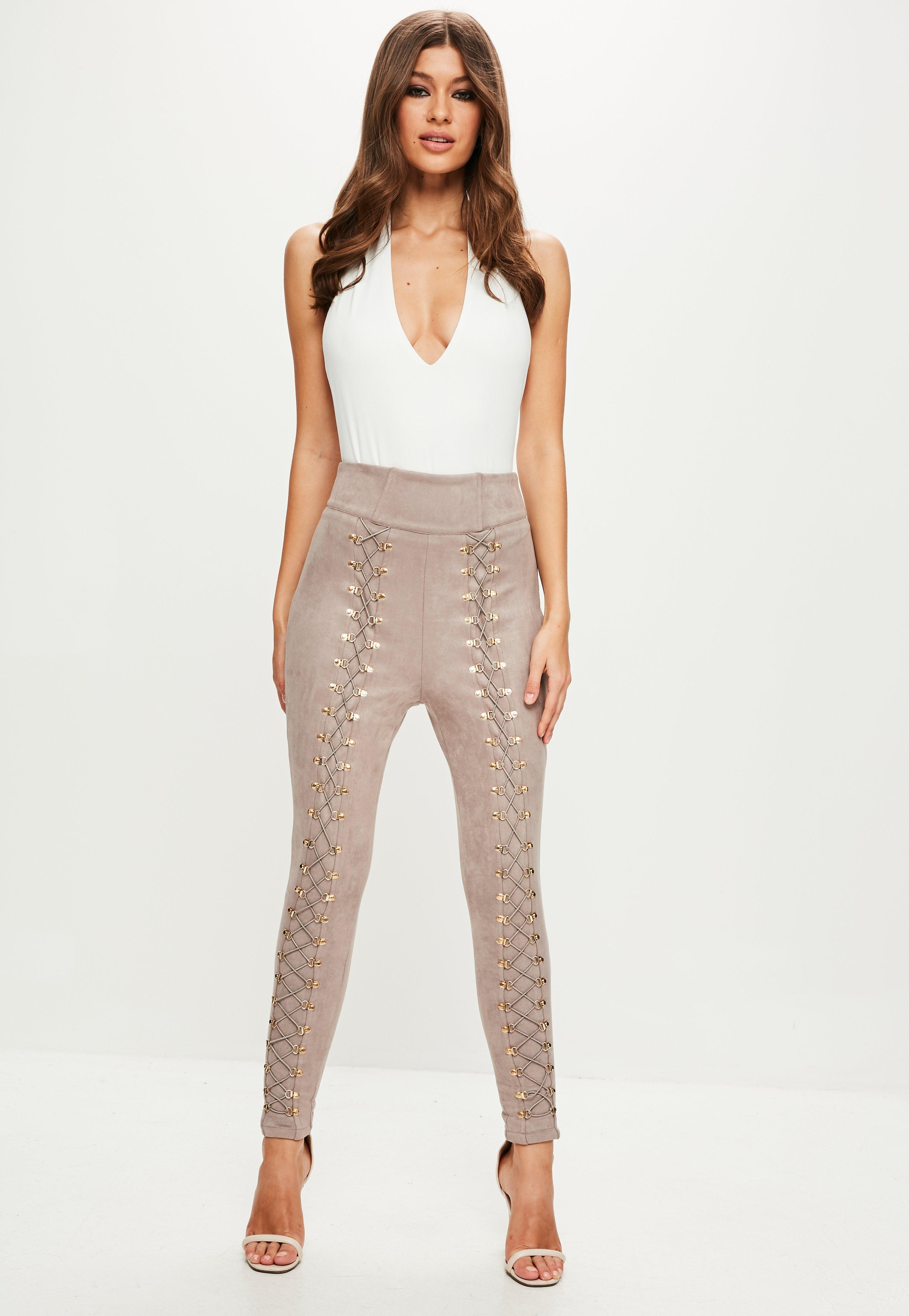 Missguided Peace + Love Nude High Waisted Faux Suede Pants