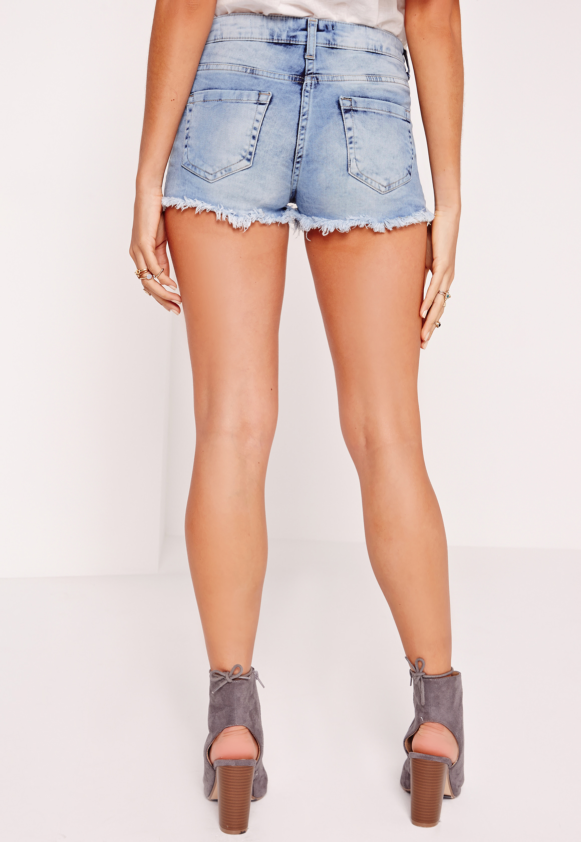 Missguided Hustler Mid Rise Embroidered Denim Shorts Blue
