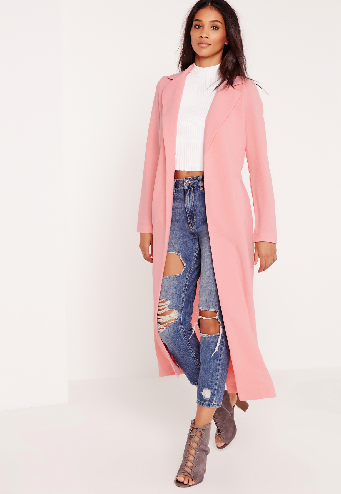Missguided Denim Long Sleeve Maxi Duster Jacket Pink - Lyst