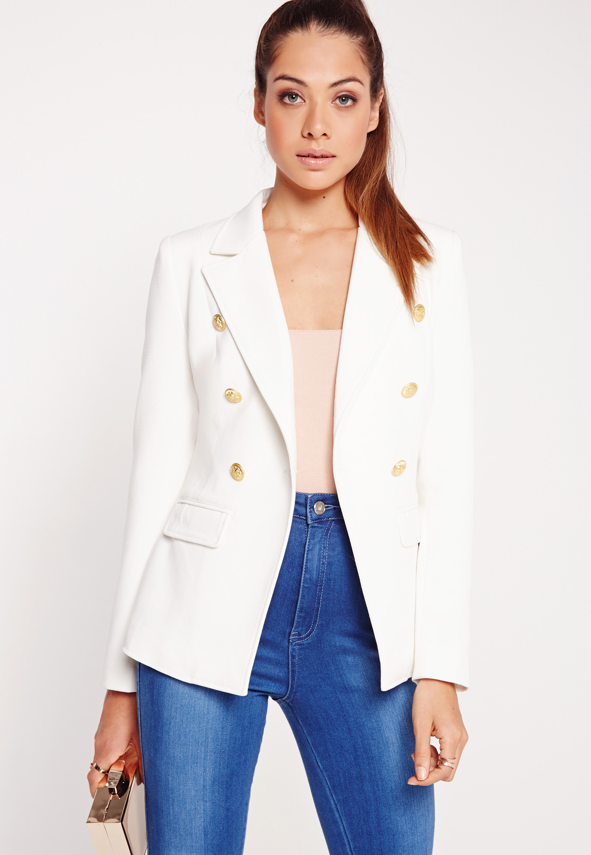 missguided military style blazer white in white lyst. Black Bedroom Furniture Sets. Home Design Ideas
