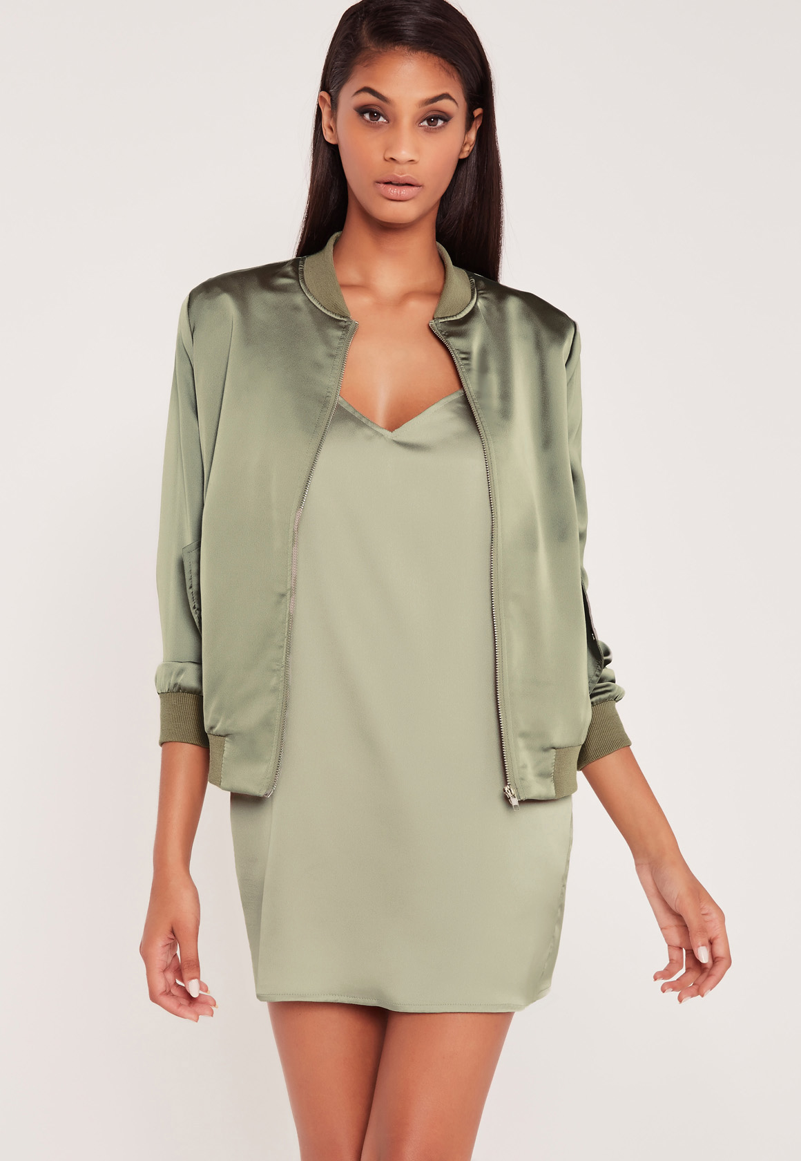 Carli Bybel Youtube Makeup: Missguided Carli Bybel Satin Bomber Jacket Green In Green
