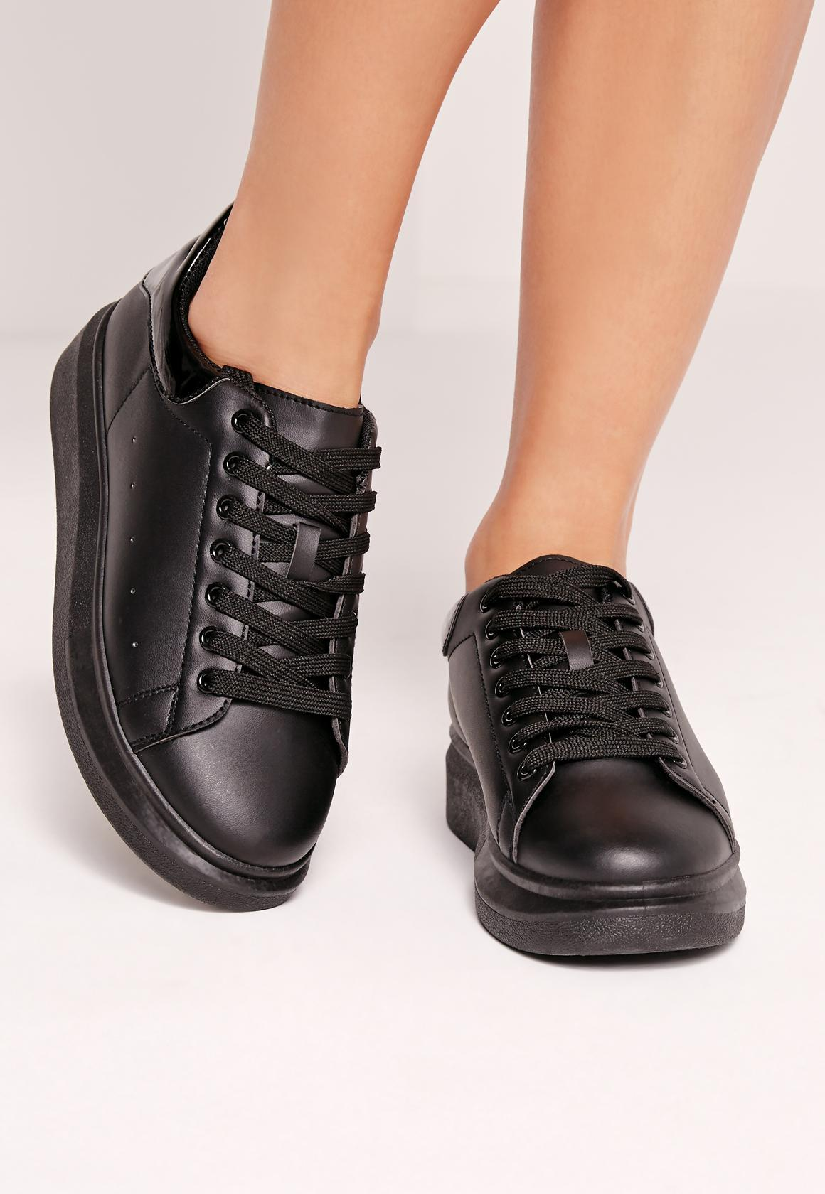 Black Vinyl Flatform Shoes