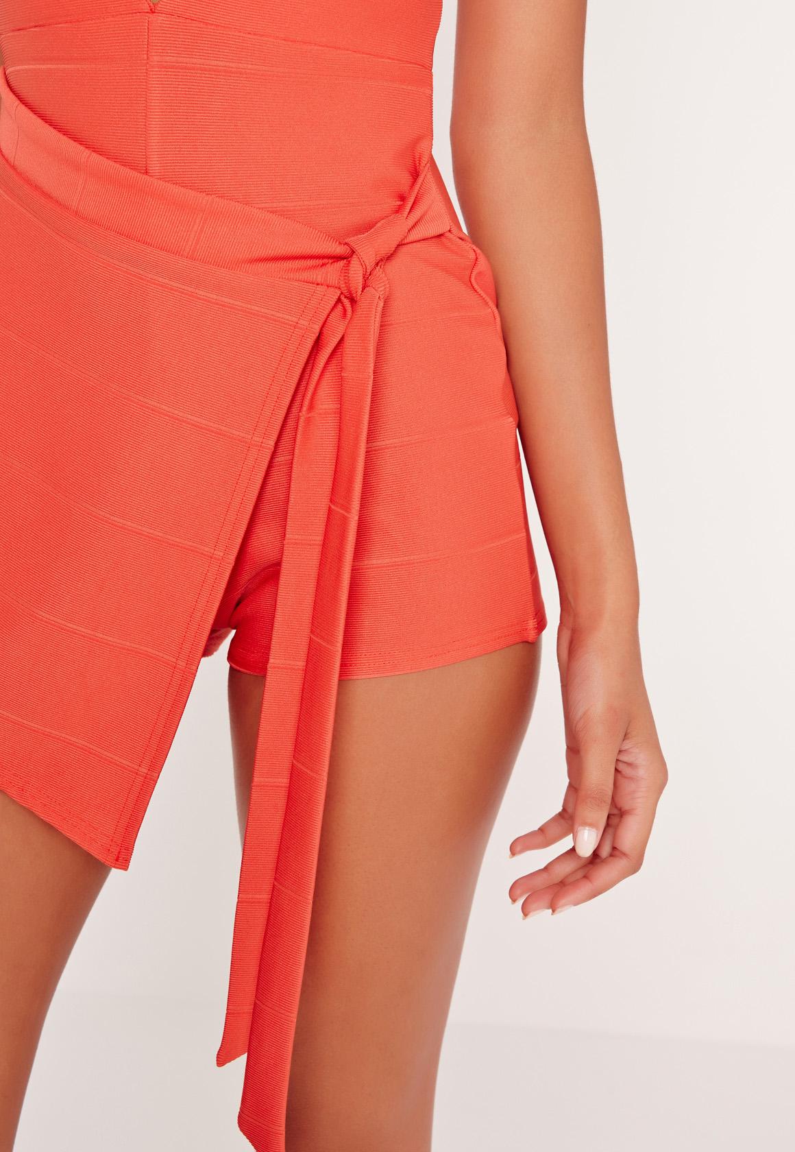 Missguided Bandage Plunge Skort Wrap Playsuit Orange