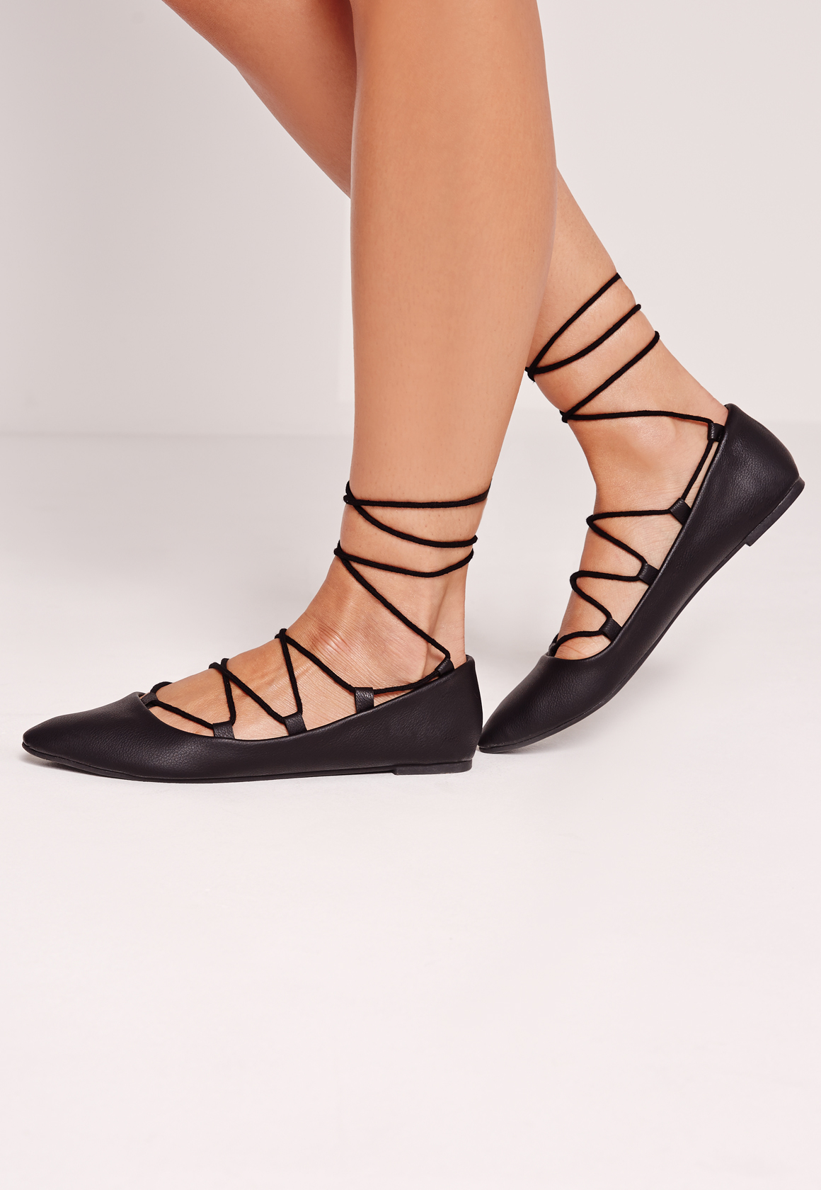 Black Lace Flat Shoes Missguided Lace...