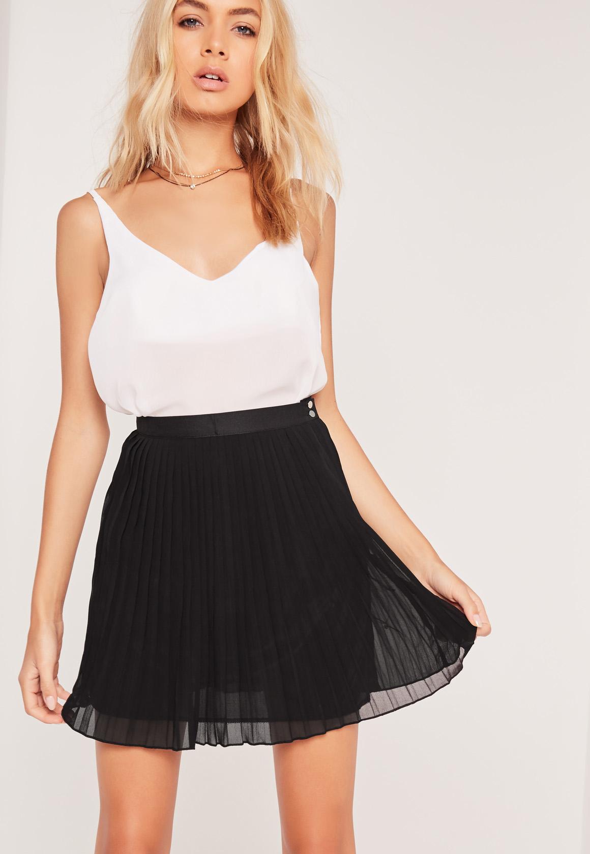 missguided pleated chiffon mini skirt black in black