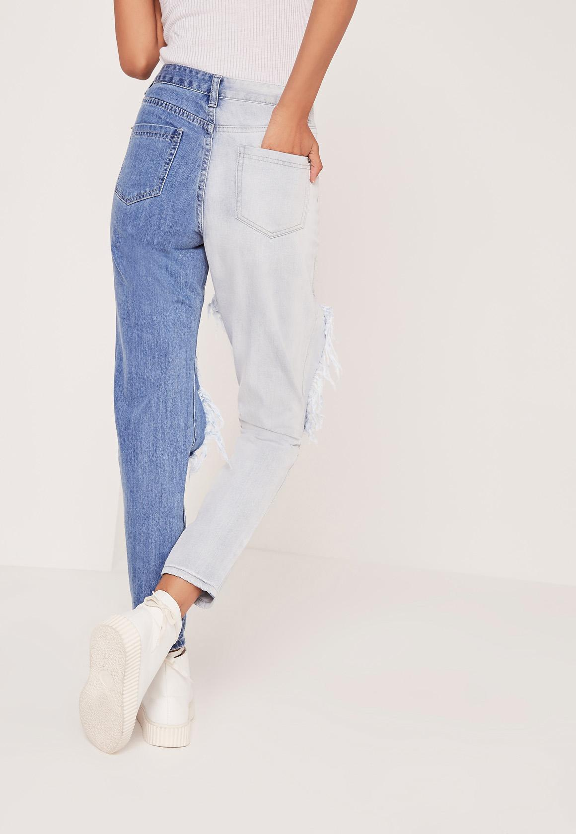 Missguided Denim Riot High Rise Contrast Ripped Jeans Blue
