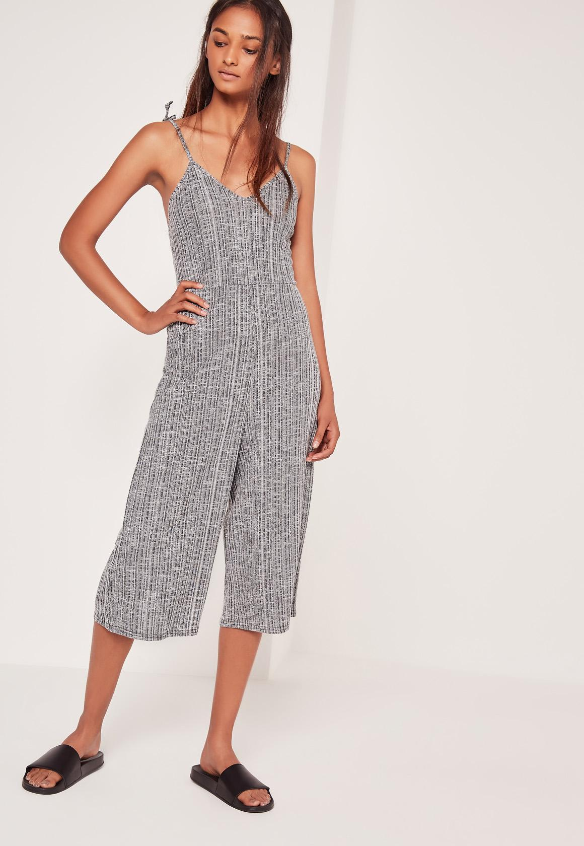14bbb629339b Lyst - Missguided Ribbed Strappy Culotte Jumpsuit Grey in Gray