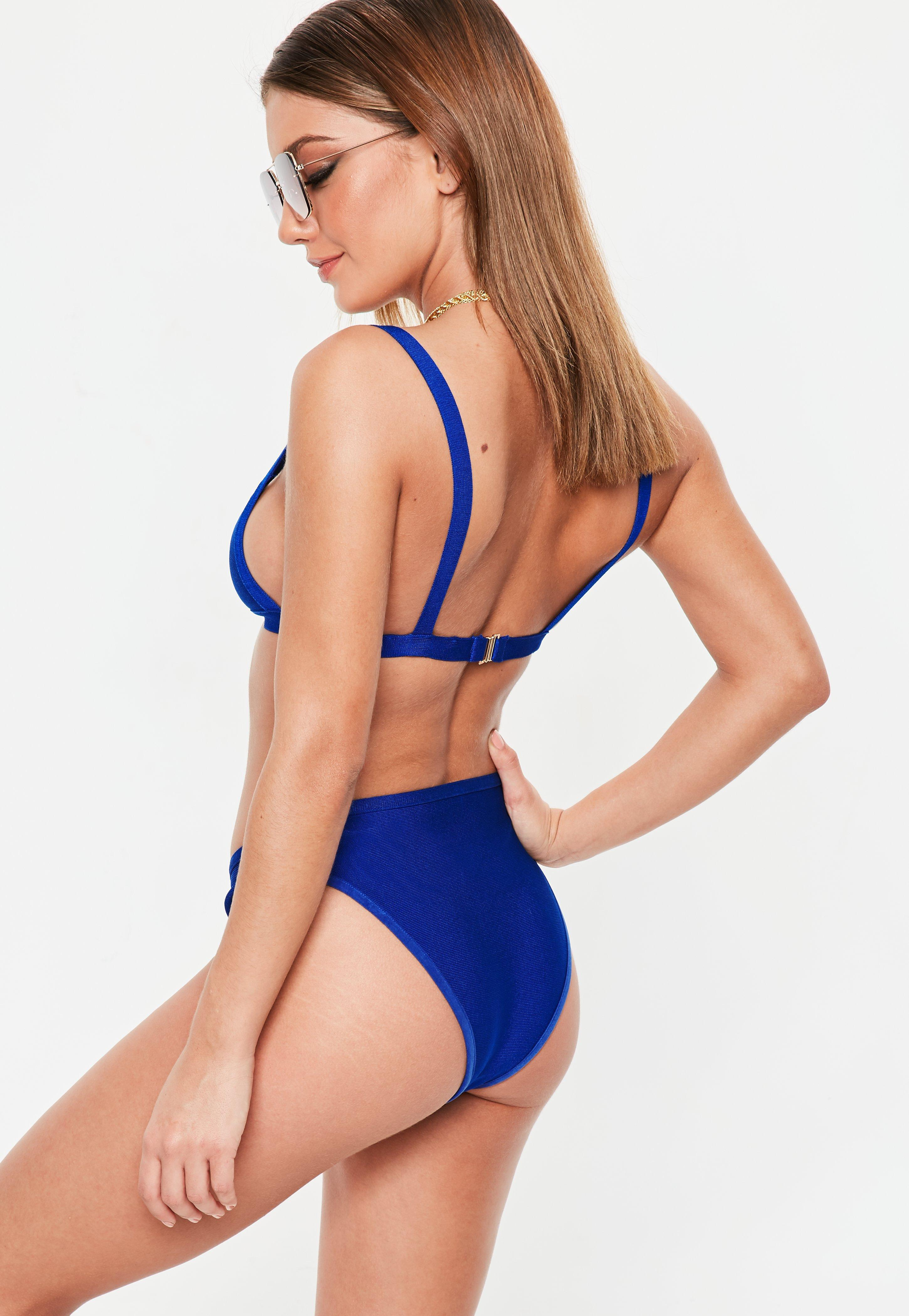 7549684178 Missguided Blue Bandage Cage Open Front Bikini Set in Blue - Lyst