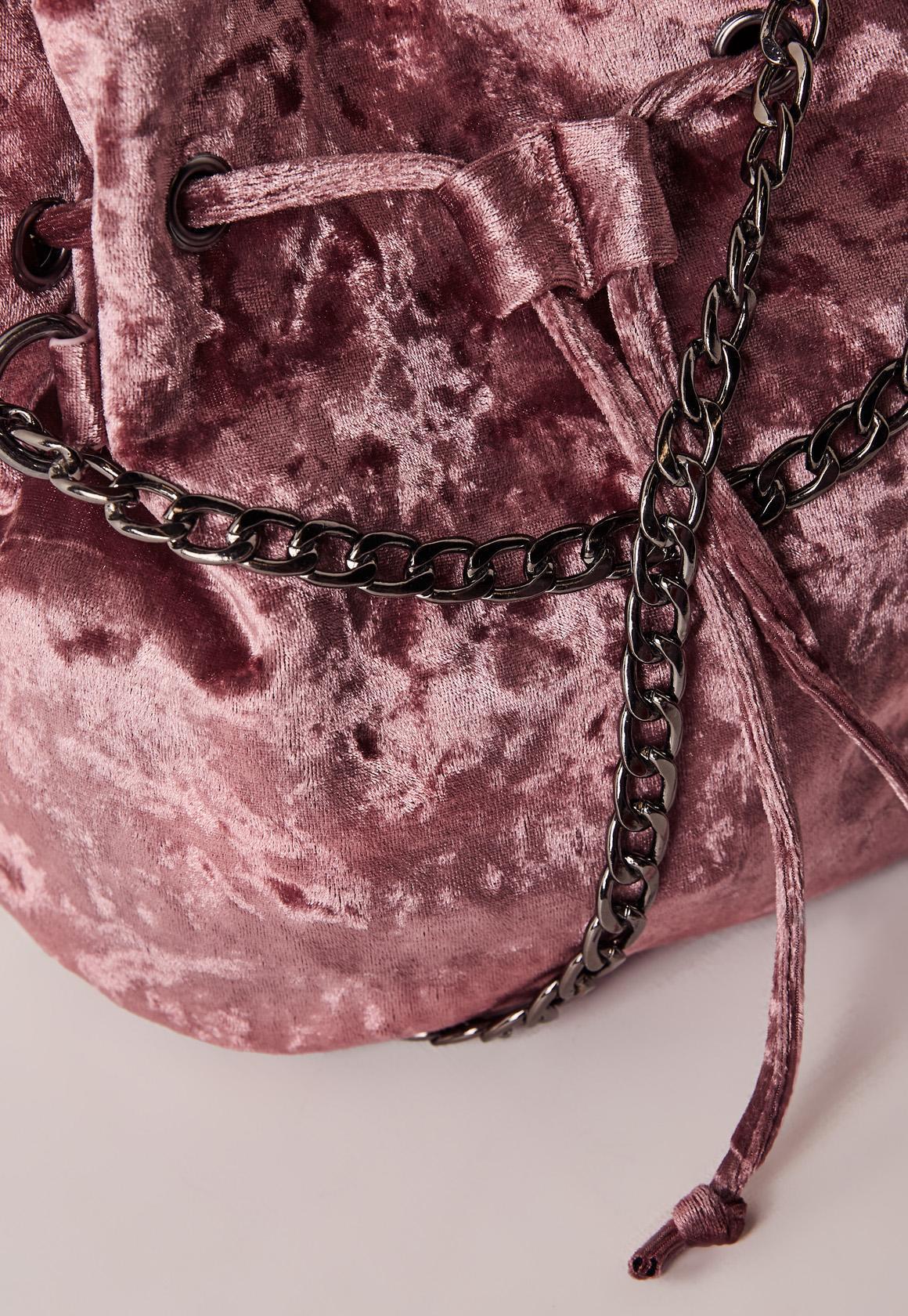 Missguided Pink Velvet Cross Body Bag