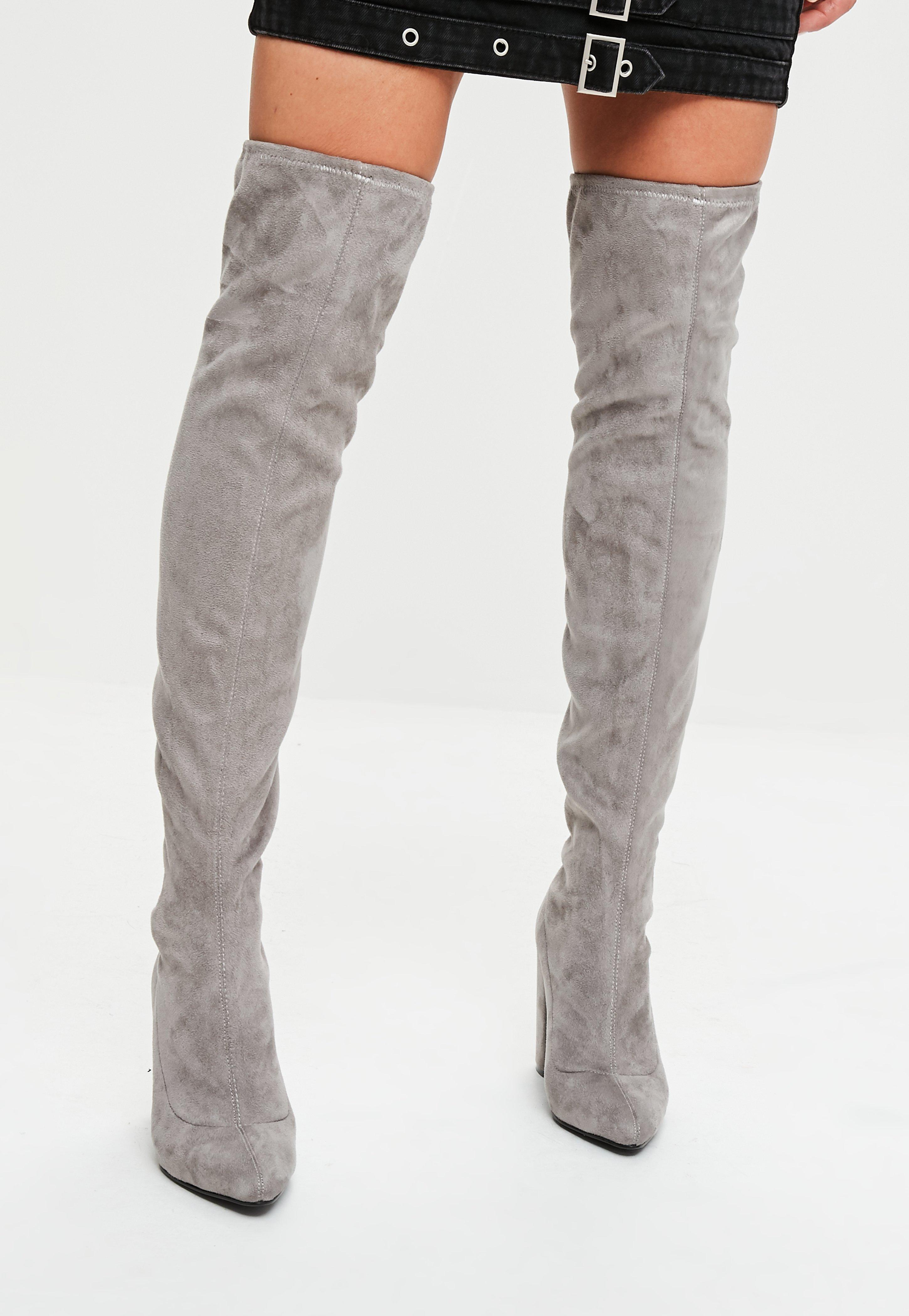 48135c46101 Missguided Grey Faux Suede Pointed Over The Knee Boots in Gray - Lyst