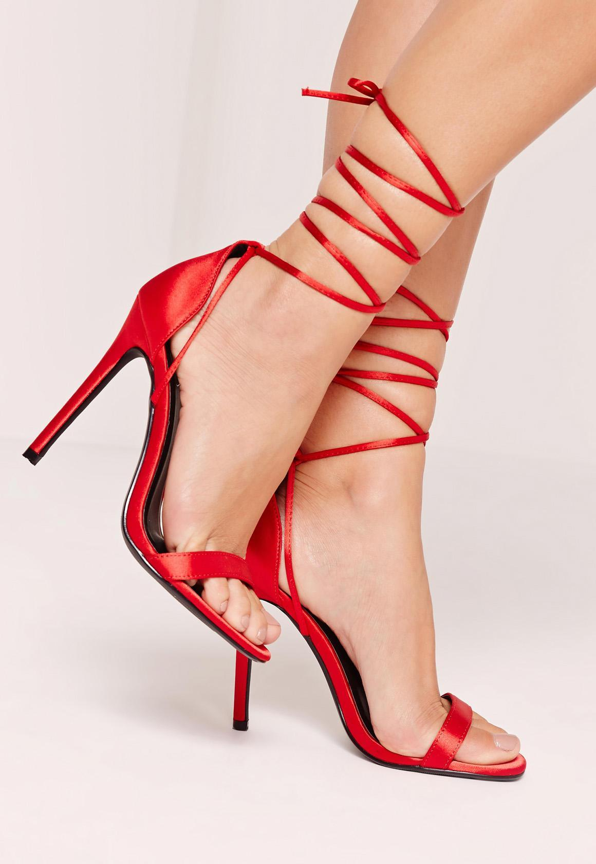 Missguided Lace Up Satin Barely There Heels Red in Red | Lyst