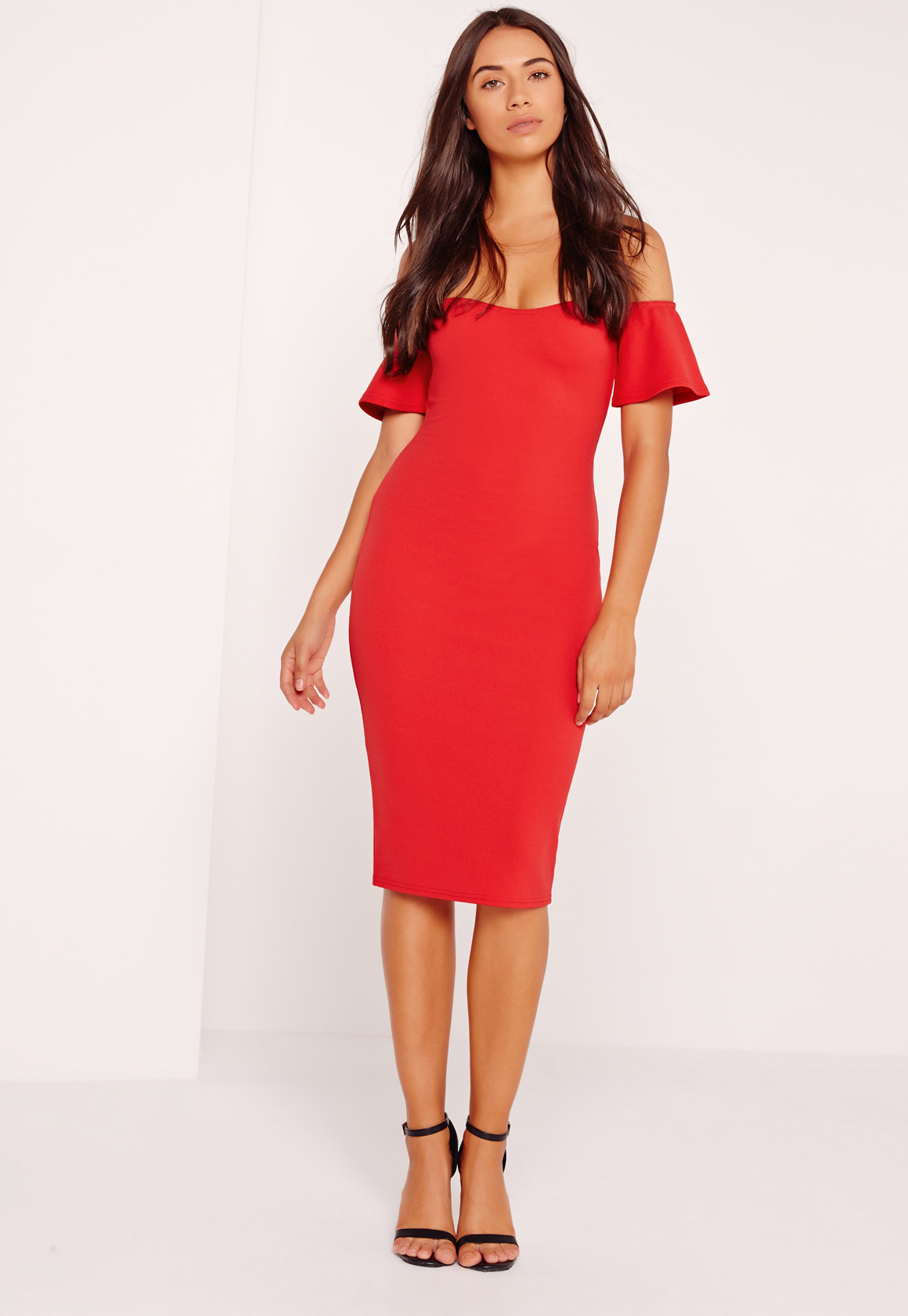 Missguided bardot bodycon midi dress red in red lyst for Red midi dress wedding guest