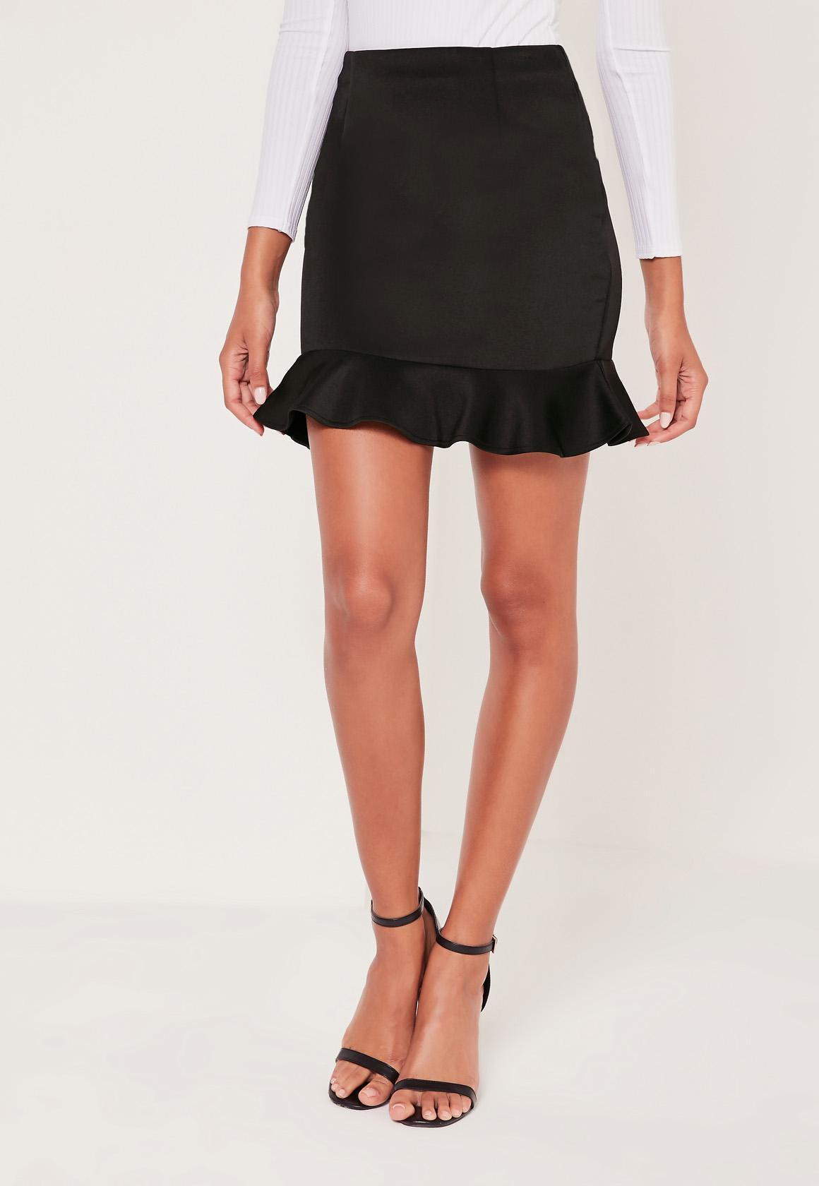 Missguided Frill Hem Scuba Mini Skirt Black in Black | Lyst