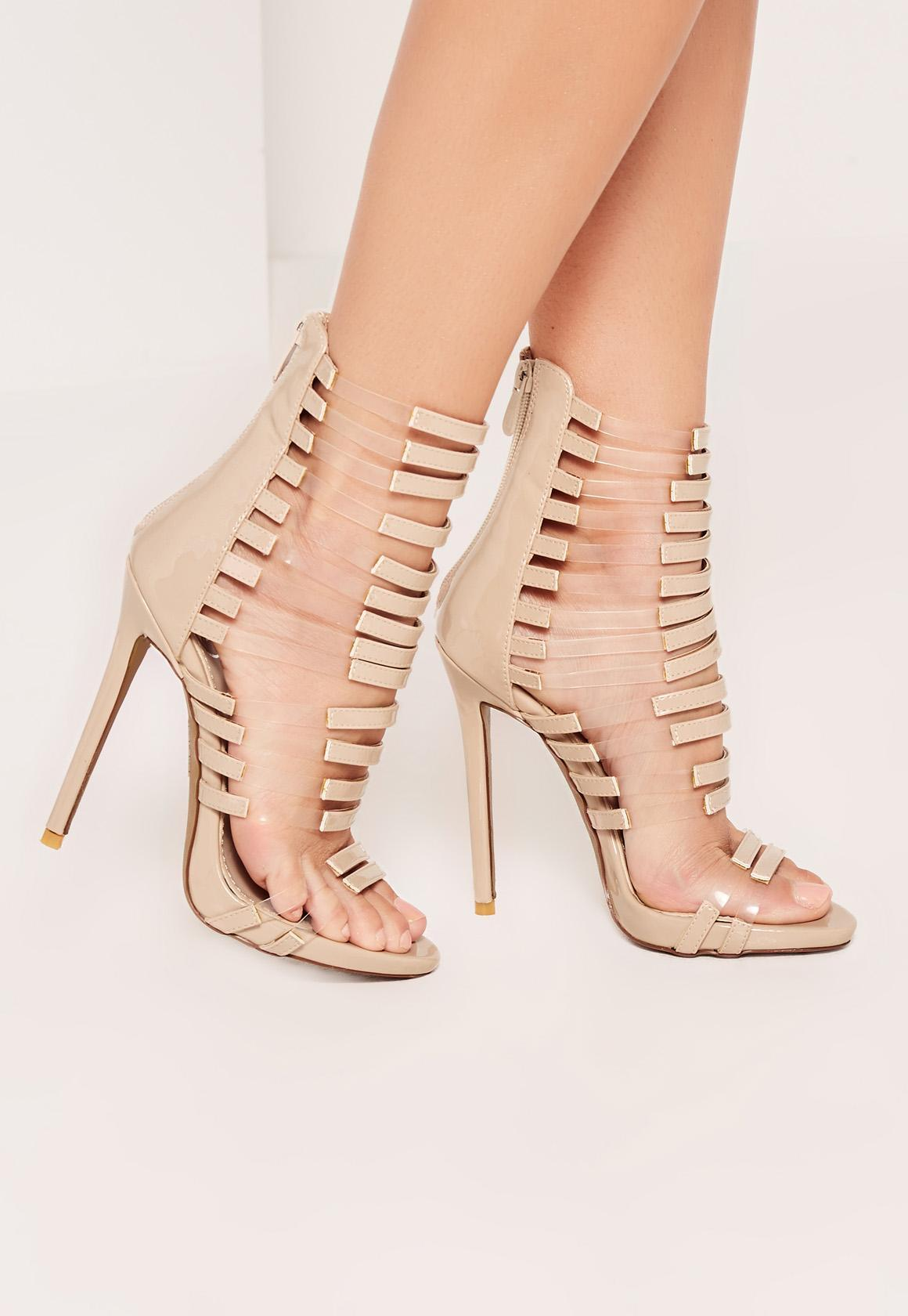 Burgundy Croc Chain Lace Up Heeled Sandals | Missguided