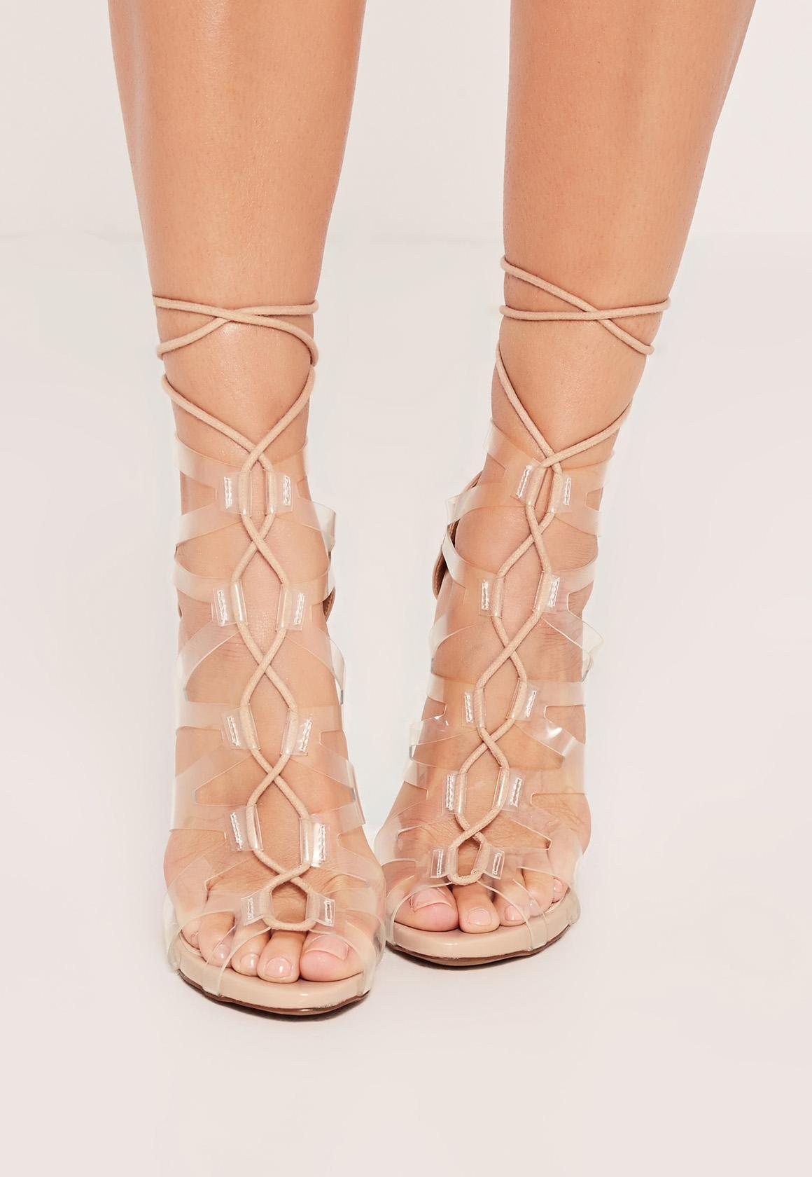 Missguided Laser Cut Lace Up Gladiator Heels Nude - Lyst