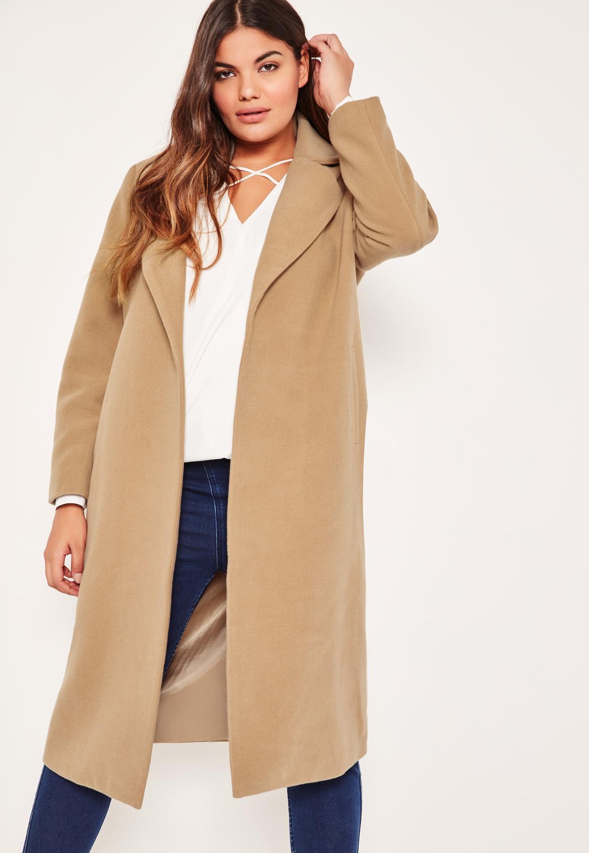 5dc62125df6e Lyst - Missguided Plus Size Camel Longline Faux Wool Duster Coat in Blue