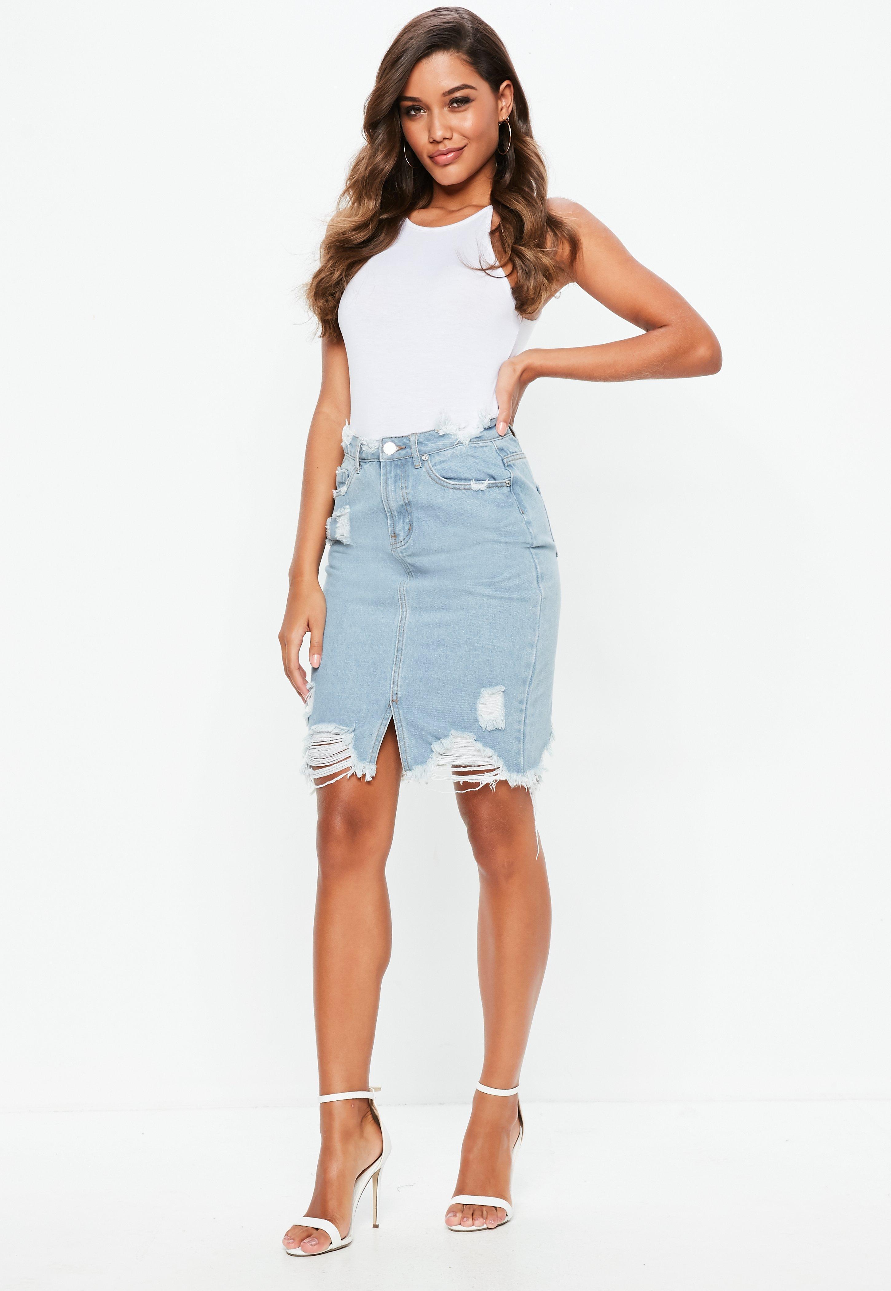 Missguided Busted Hem Denim Midi Skirt in Blue