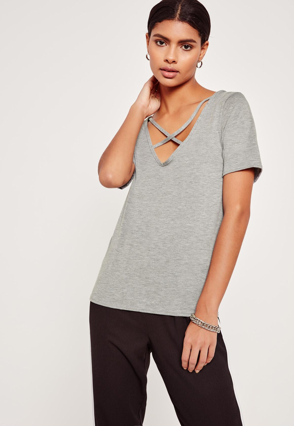 Missguided tall v neck cross strap front t shirt grey in for Womens tall v neck t shirts