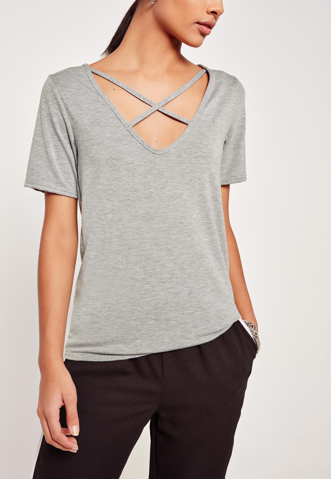 Missguided tall v neck cross strap front t shirt grey in for Tall v neck t shirts