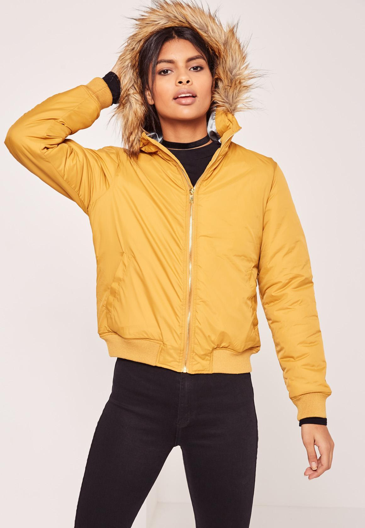 Missguided Faux Fur Hood Padded Bomber Jacket Yellow In