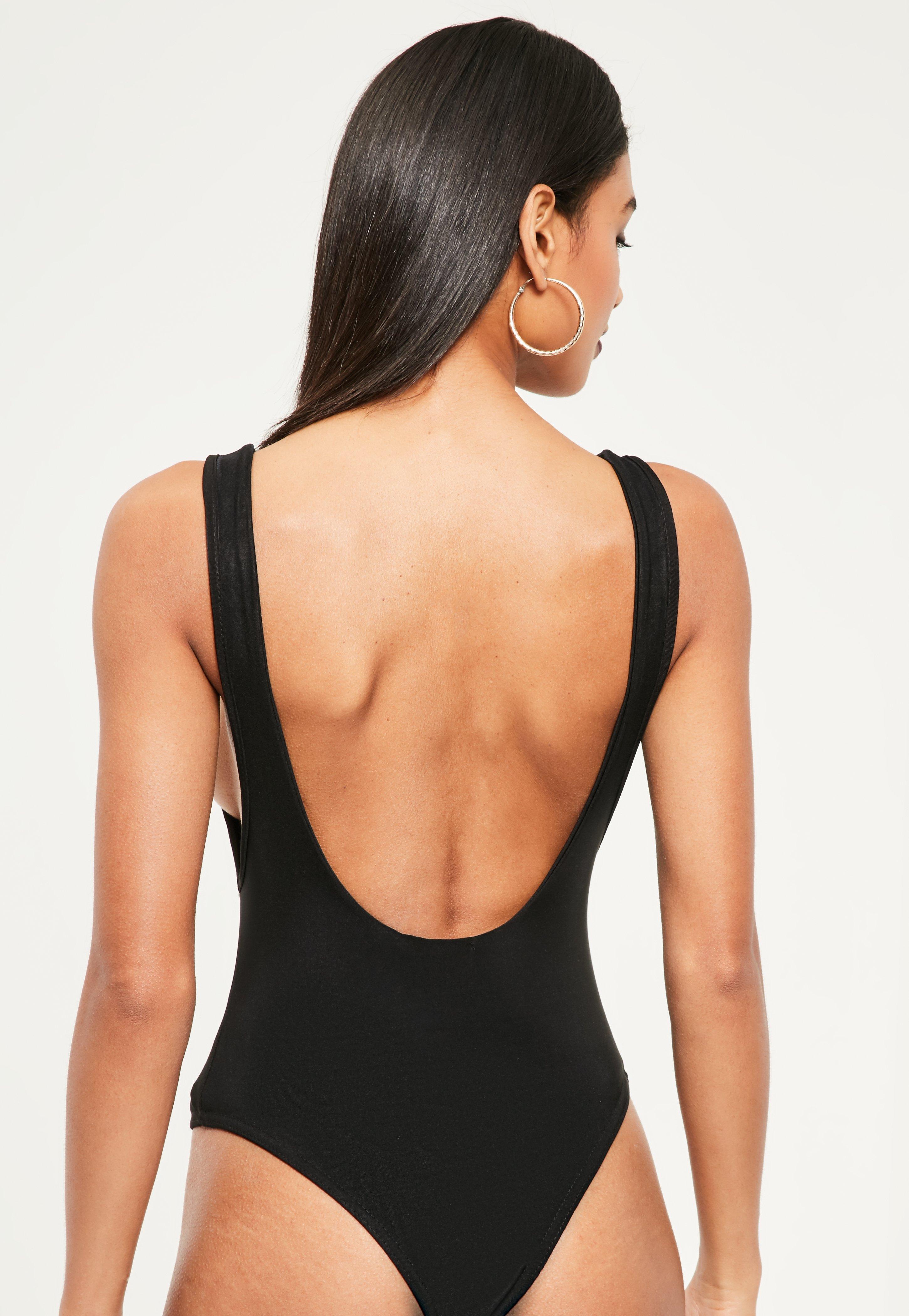 Lyst - Missguided Extreme Scoop Back Bodysuit Black in Black 5c8aff5d2