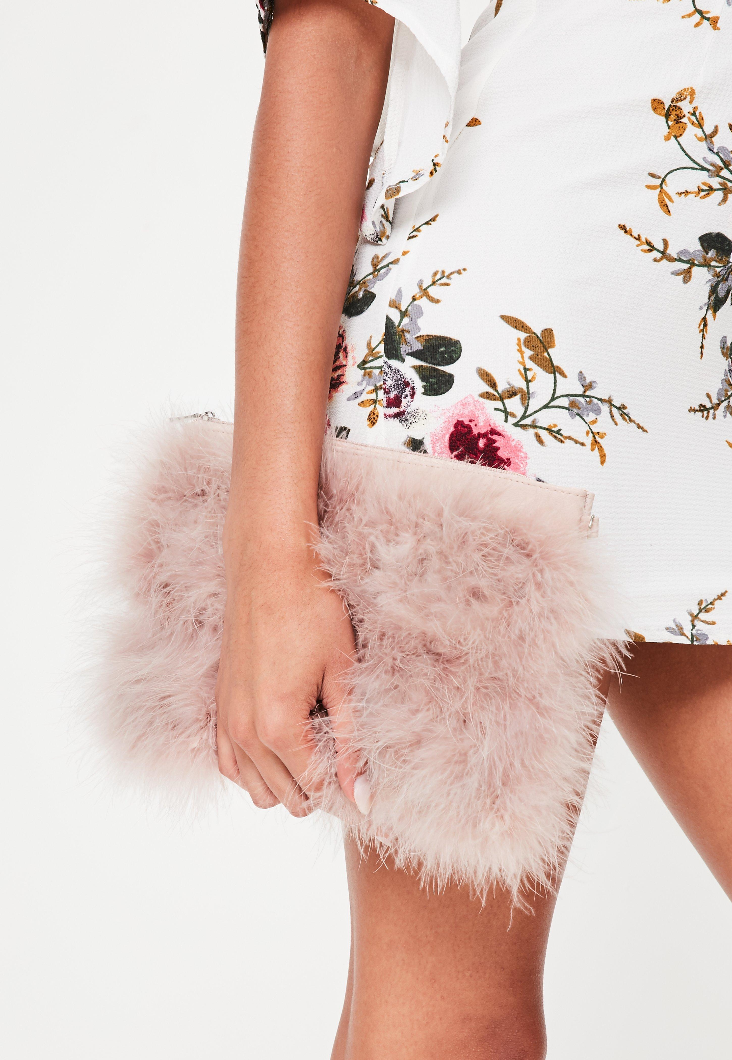 48c6dab981 Lyst - Missguided Pink Feather Zip Front Clutch in Pink