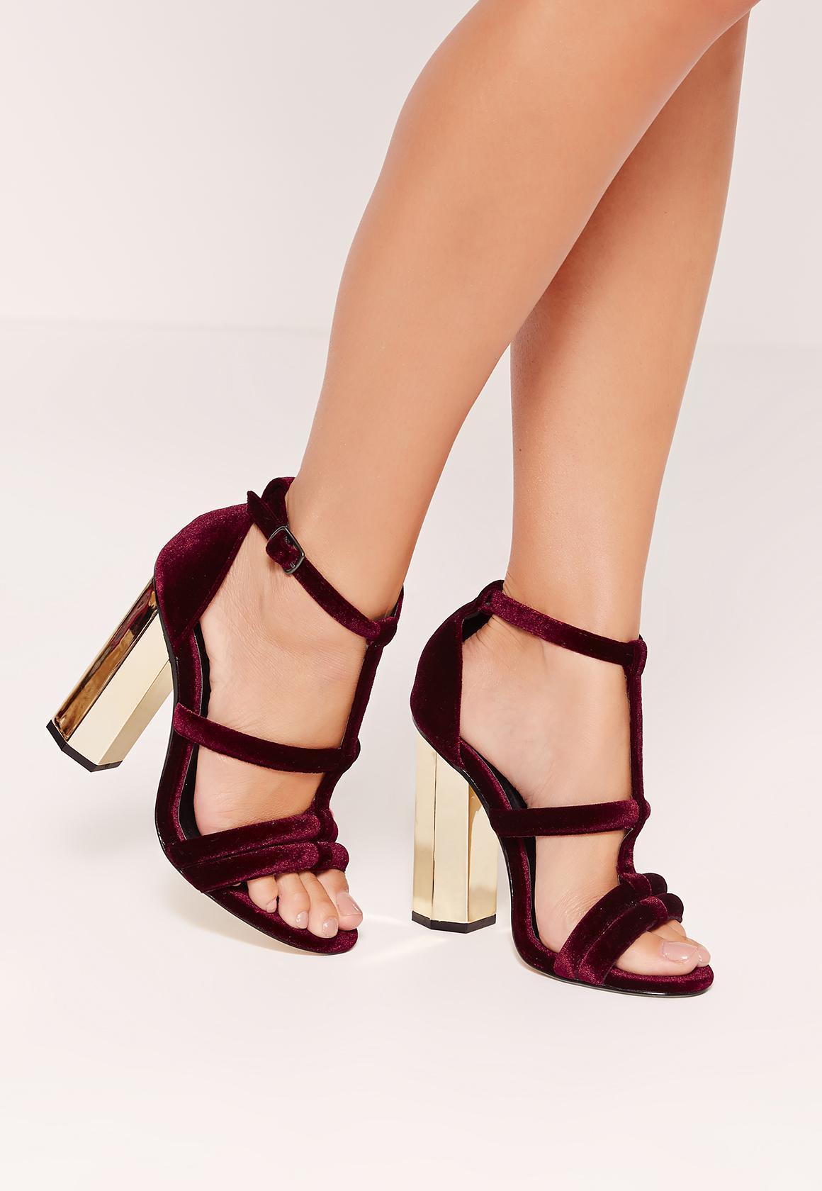 Missguided Metal Block Heel Velvet Sandals Burgundy In