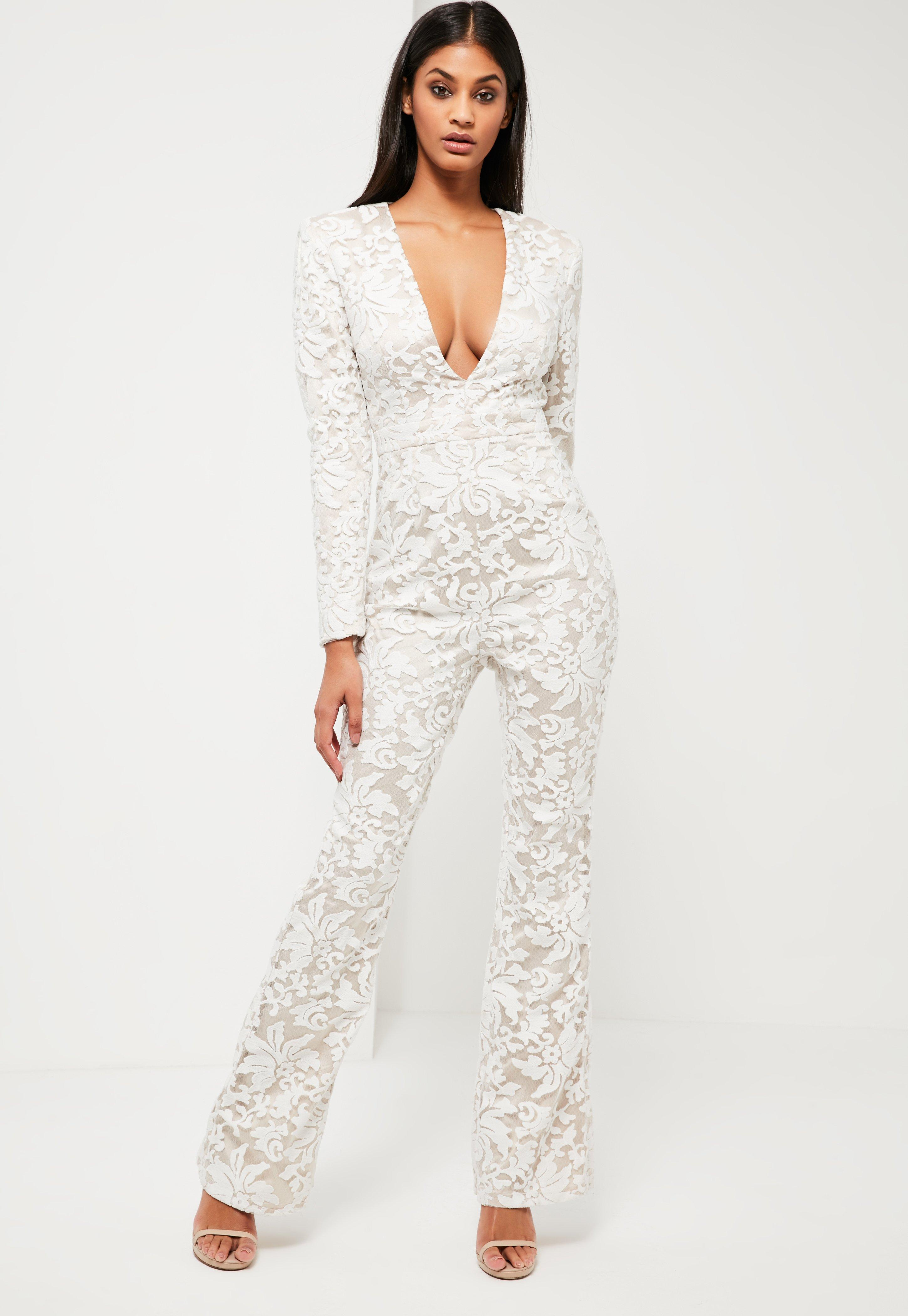 efe6c314aa45 Missguided Peace + Love White Lace Plunge Jumpsuit in White - Lyst