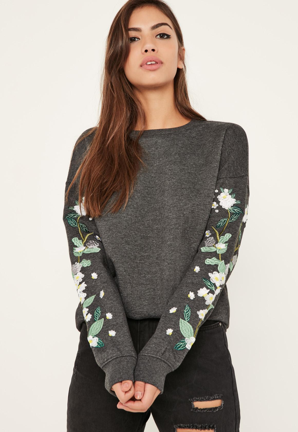 Missguided grey floral embroidered sleeve sweatshirt in