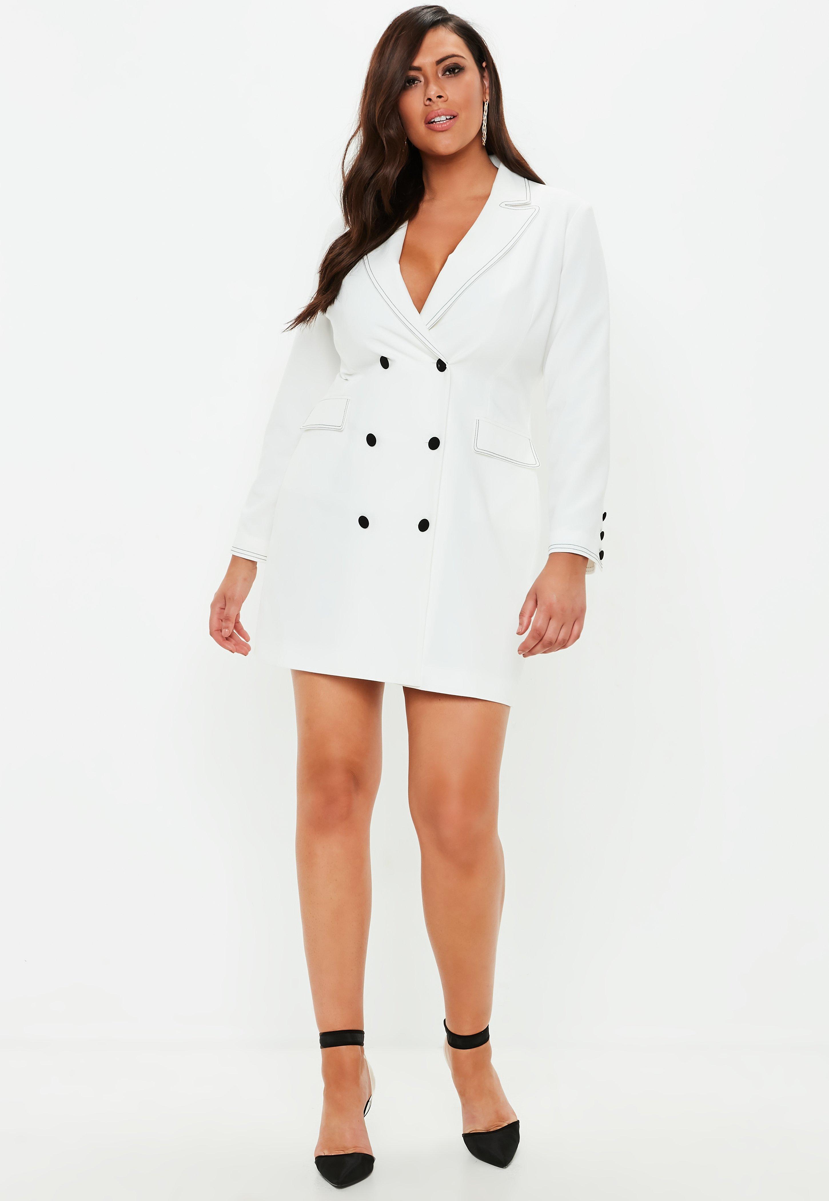 Plus Size White Crepe Contrast Stitch Blazer Dress