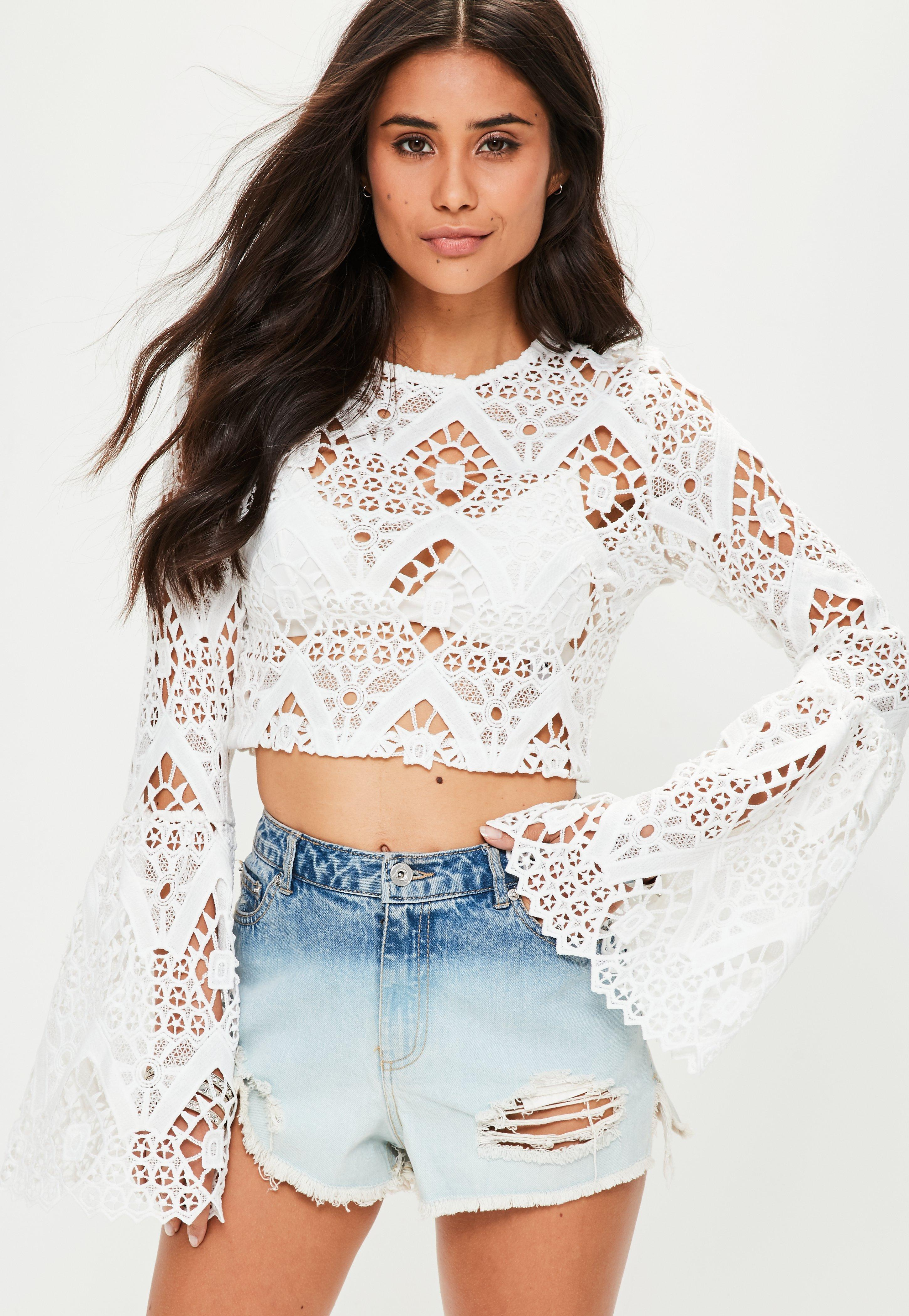 187fd6ae80c983 Lyst - Missguided White Lace Flare Sleeve Crop Top in White