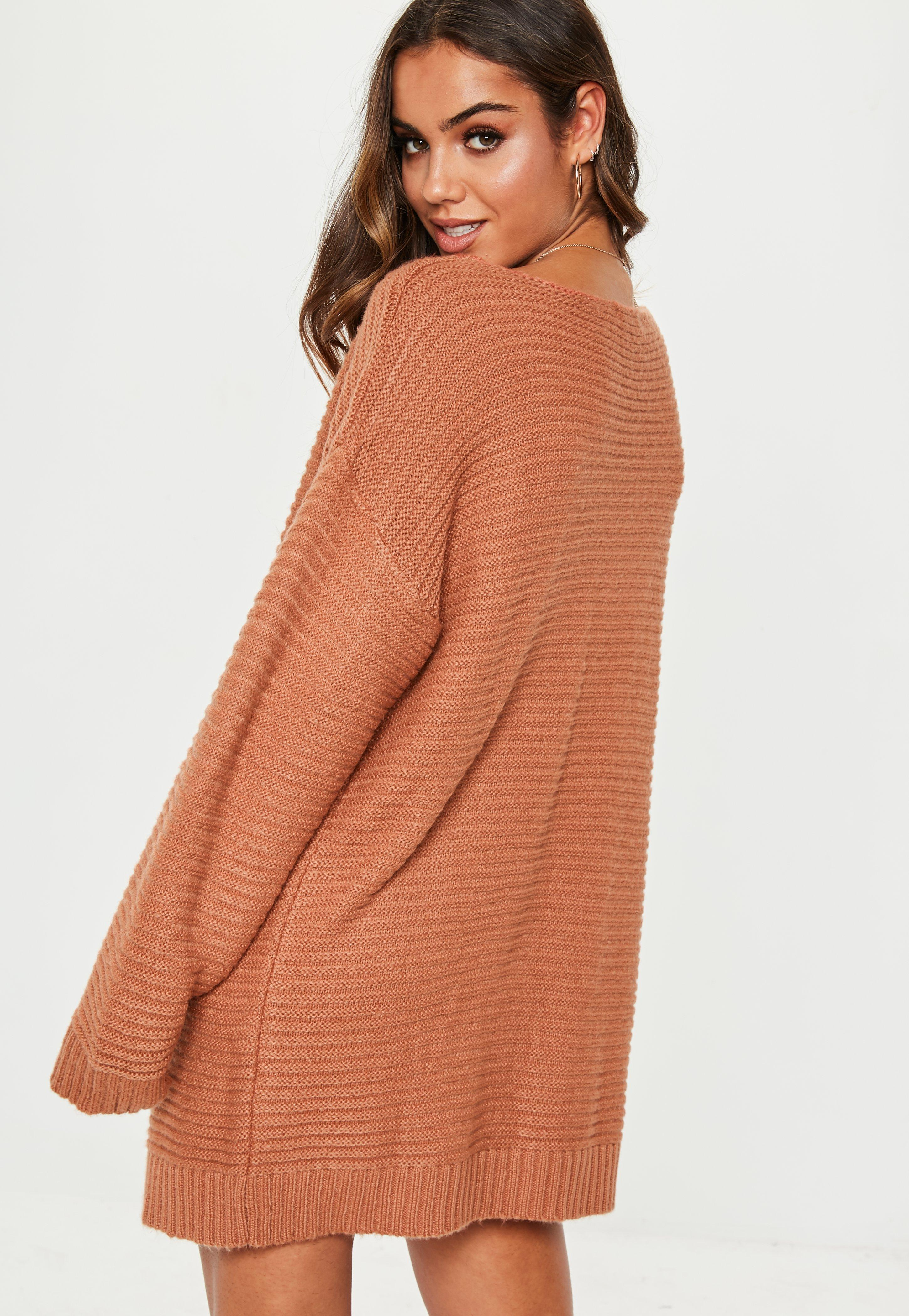 0ab096f51 Missguided Auburn V Neck Ribbed Knitted Sweater Dress in Brown - Lyst