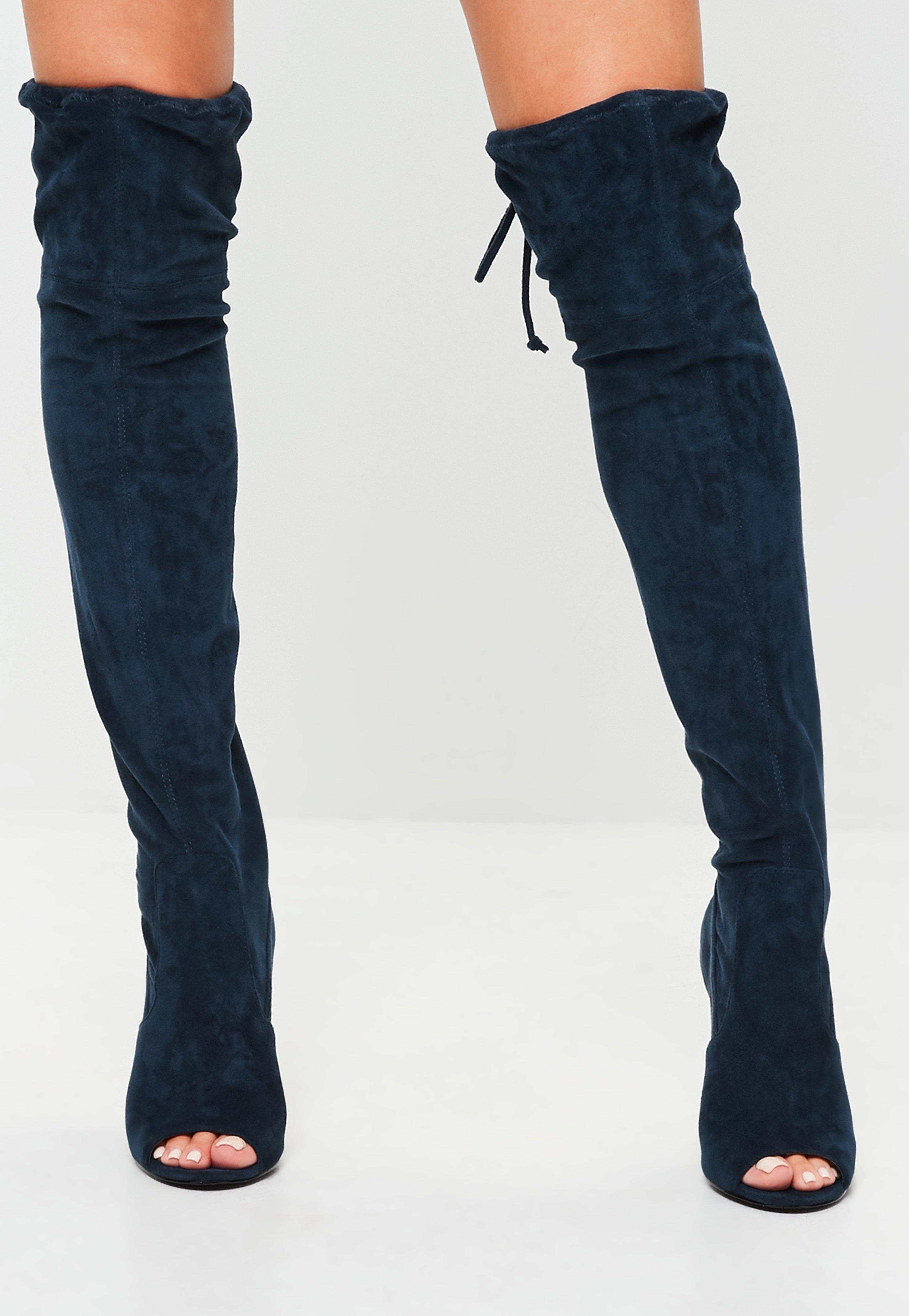 4b6e8ade65b9 Lyst - Missguided Navy Faux Suede Over The Knee Boots in Blue