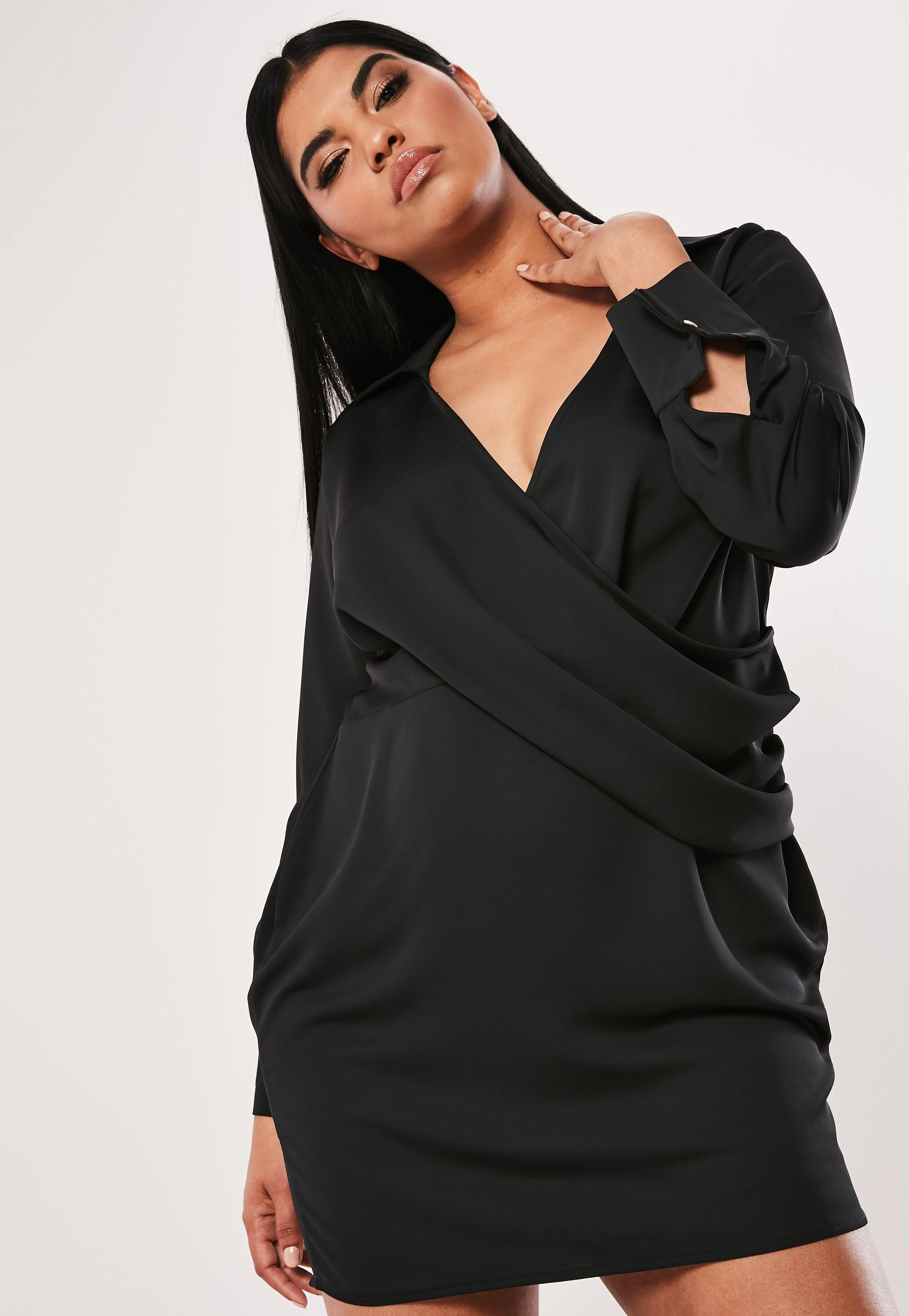 3e80ad353aea Missguided - Plus Size Black Satin Thigh Split Mini Dress - Lyst. View  fullscreen