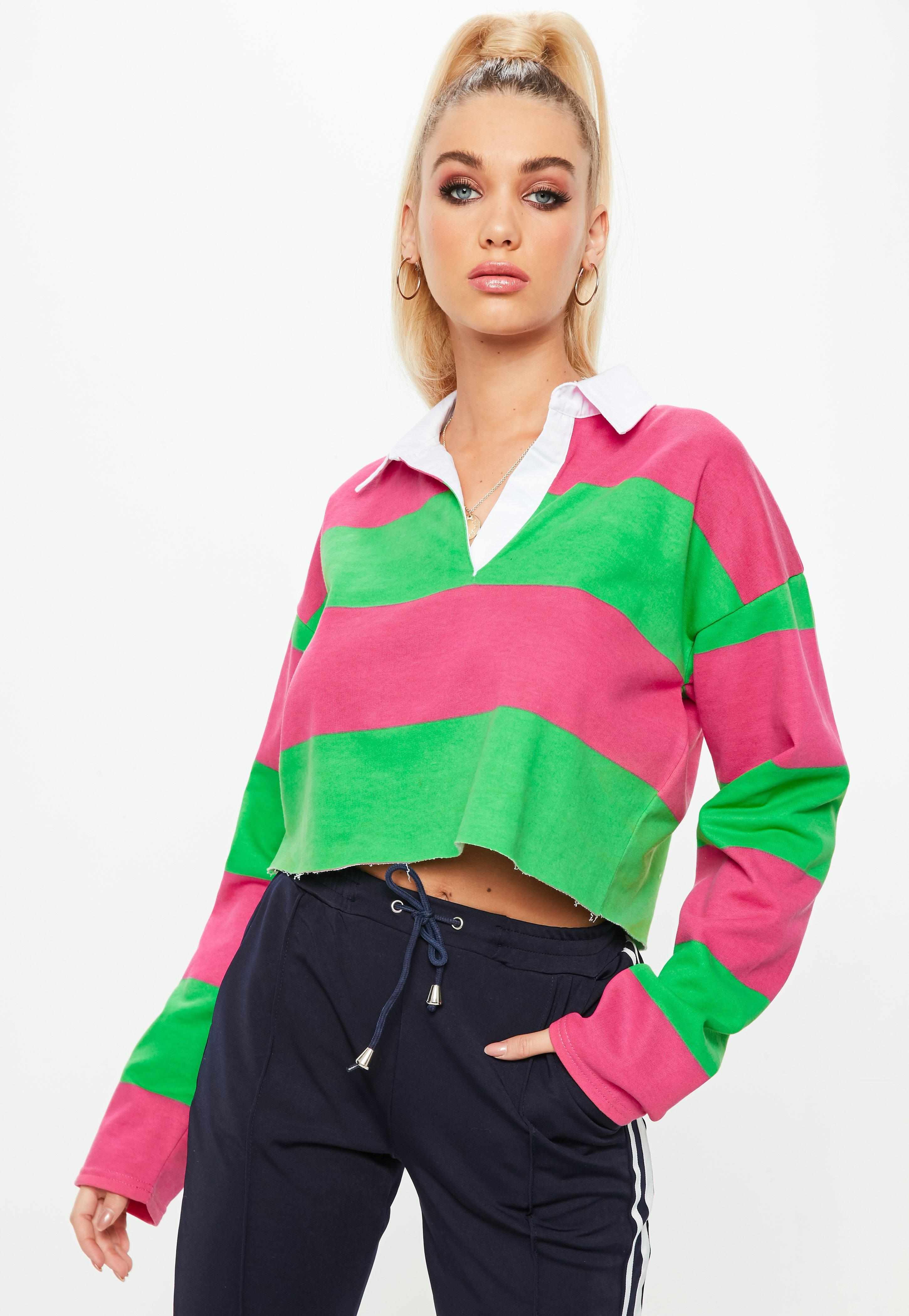 Missguided Green Striped Cropped Rugby Shirt