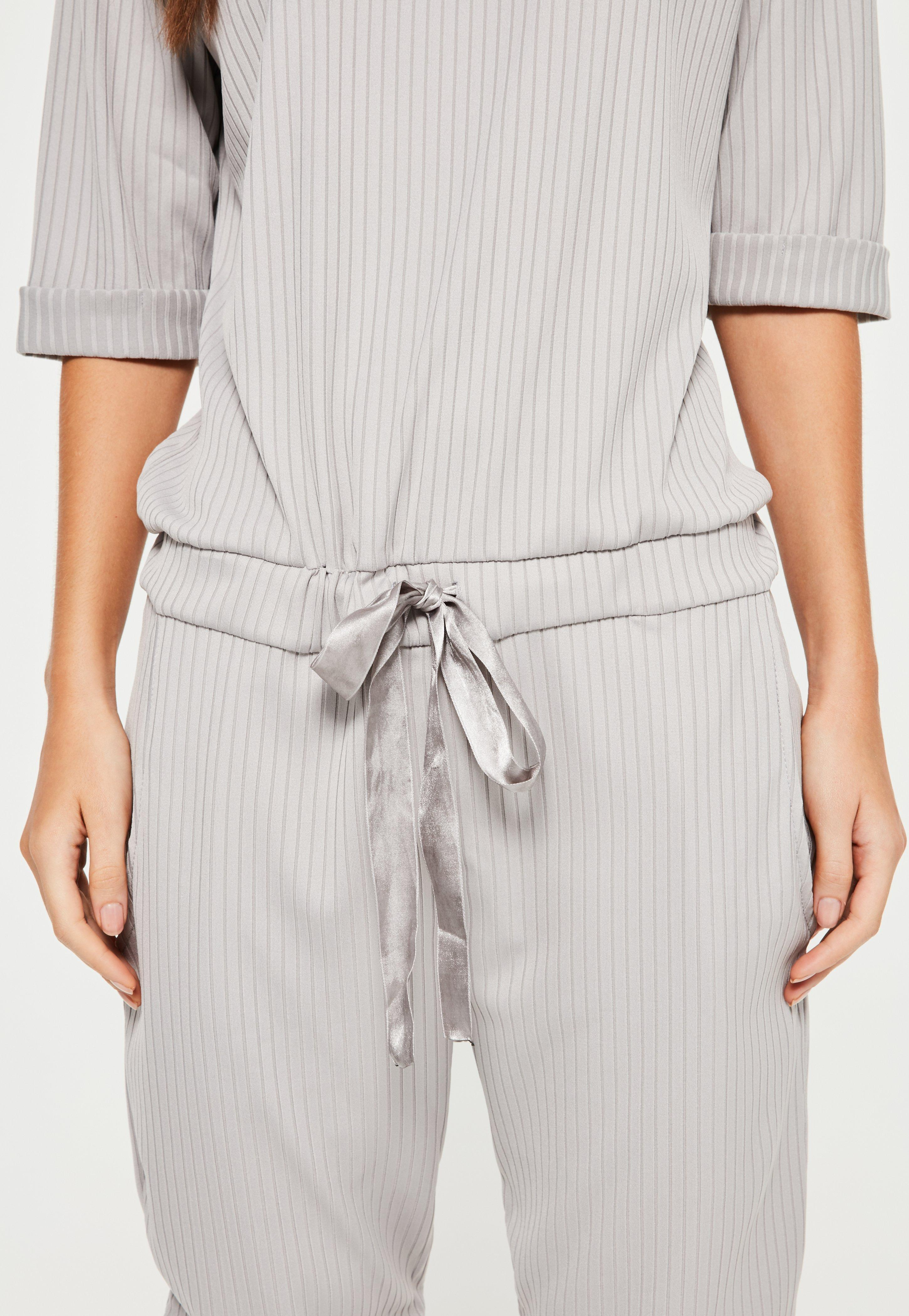 d058ecd5c55 Lyst - Missguided Grey Ribbed Slouch Lounge Jumpsuit in Gray