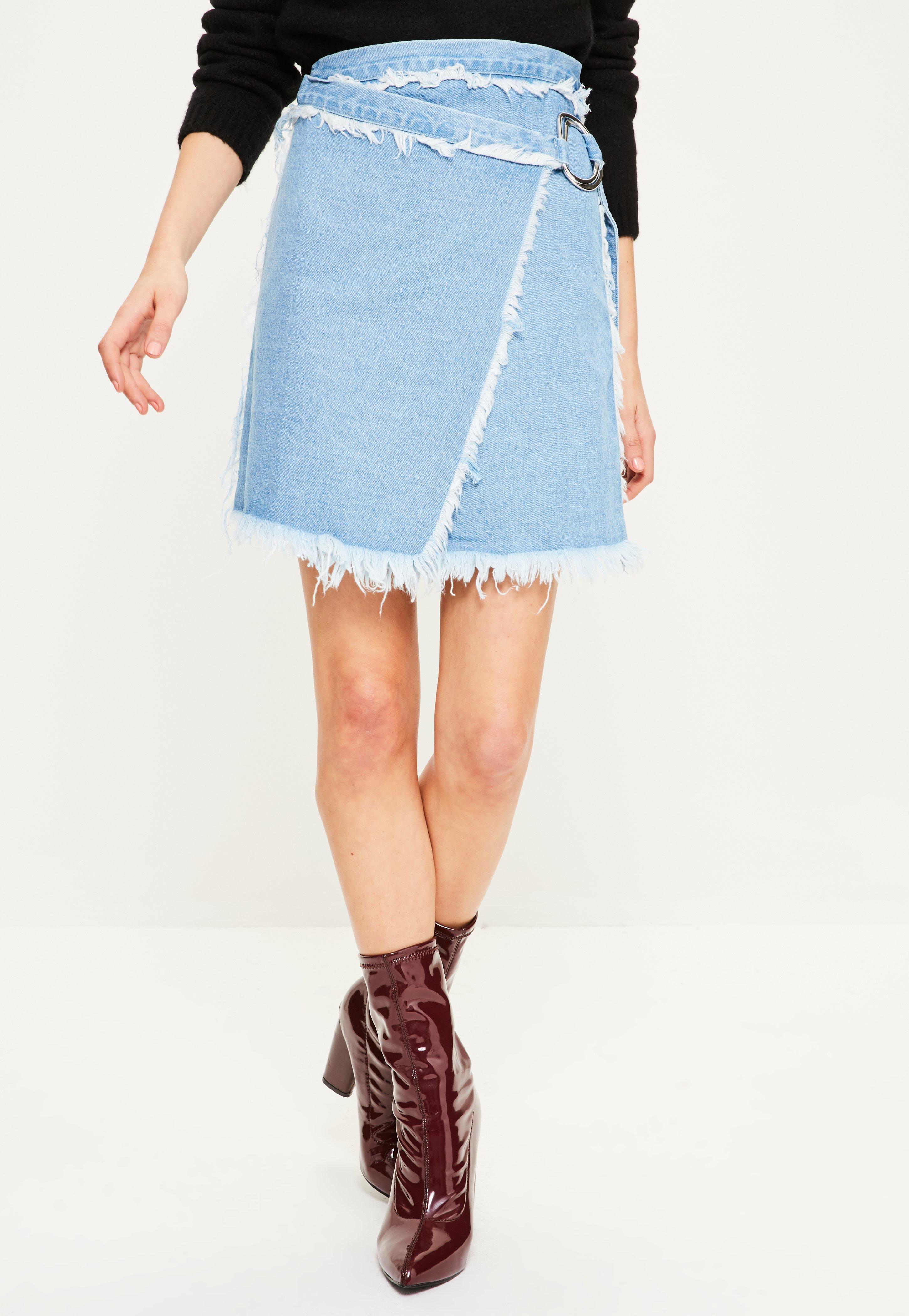 Blue Wrap Pinstripe Skirt River Island