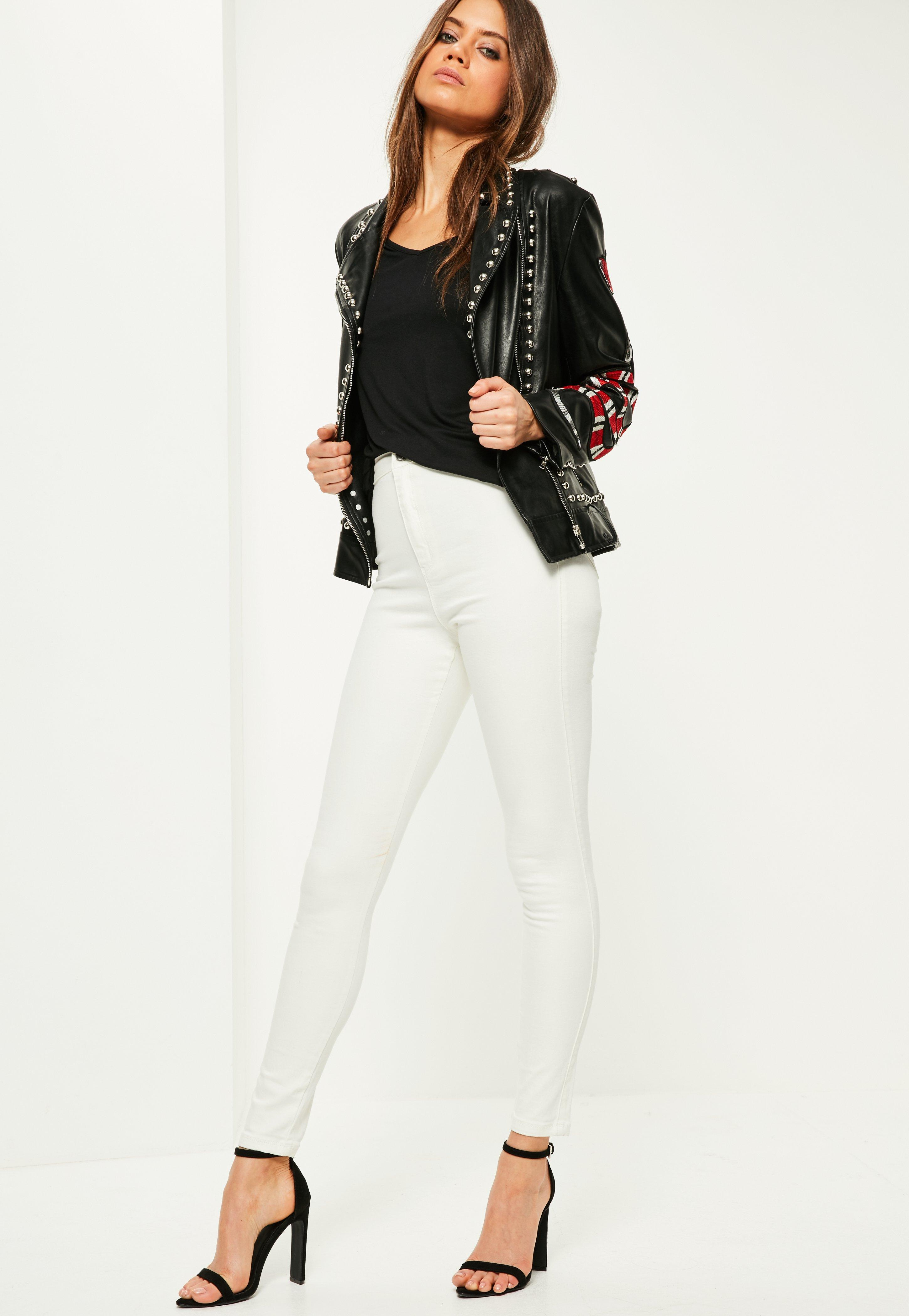 Lyst - Hudson Jeans Nico Mid-Rise Super Skinny Jeans in White