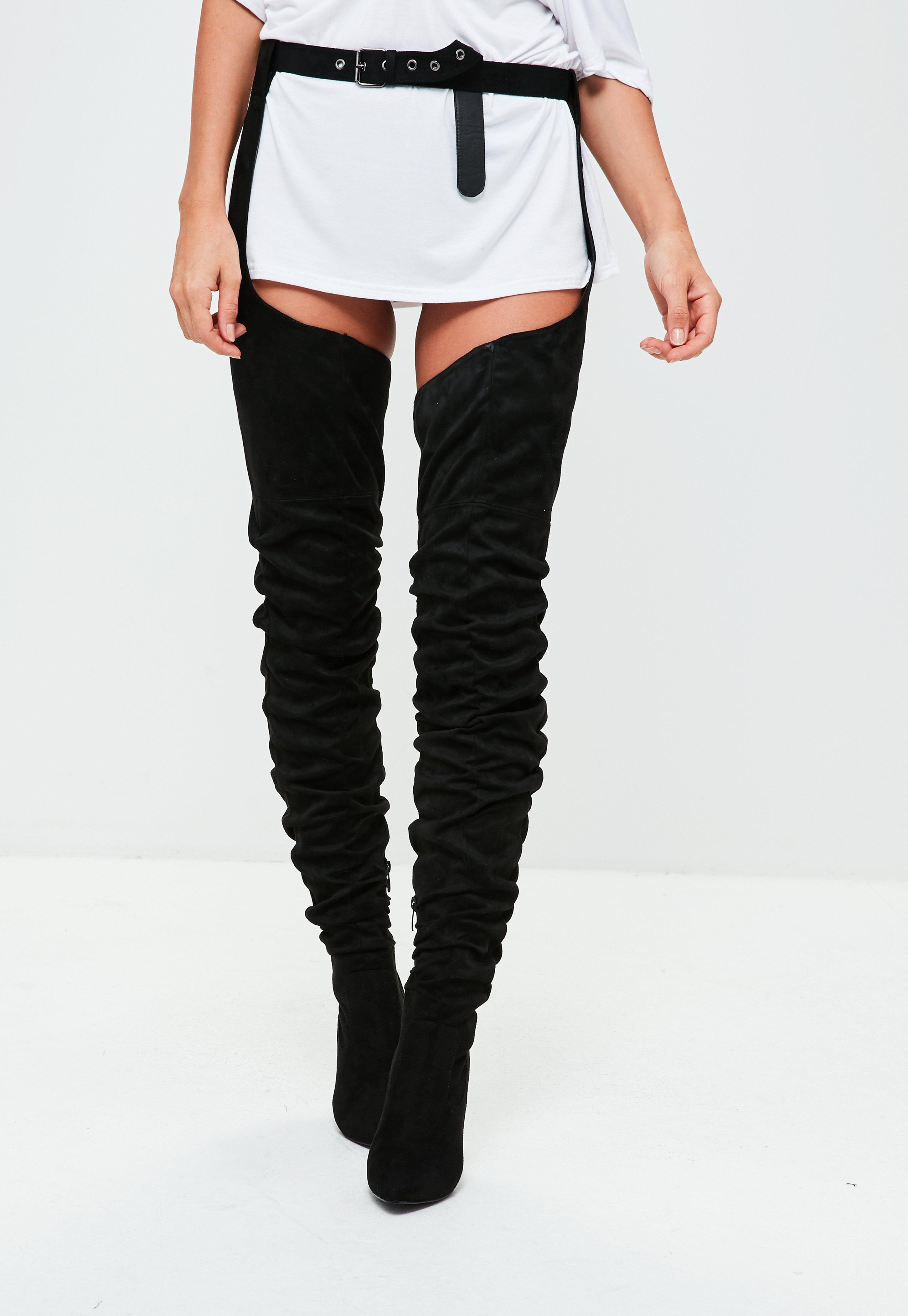 29f150b69af1 Lyst - Missguided Black Faux Suede Harness Over The Knee Boots in Black