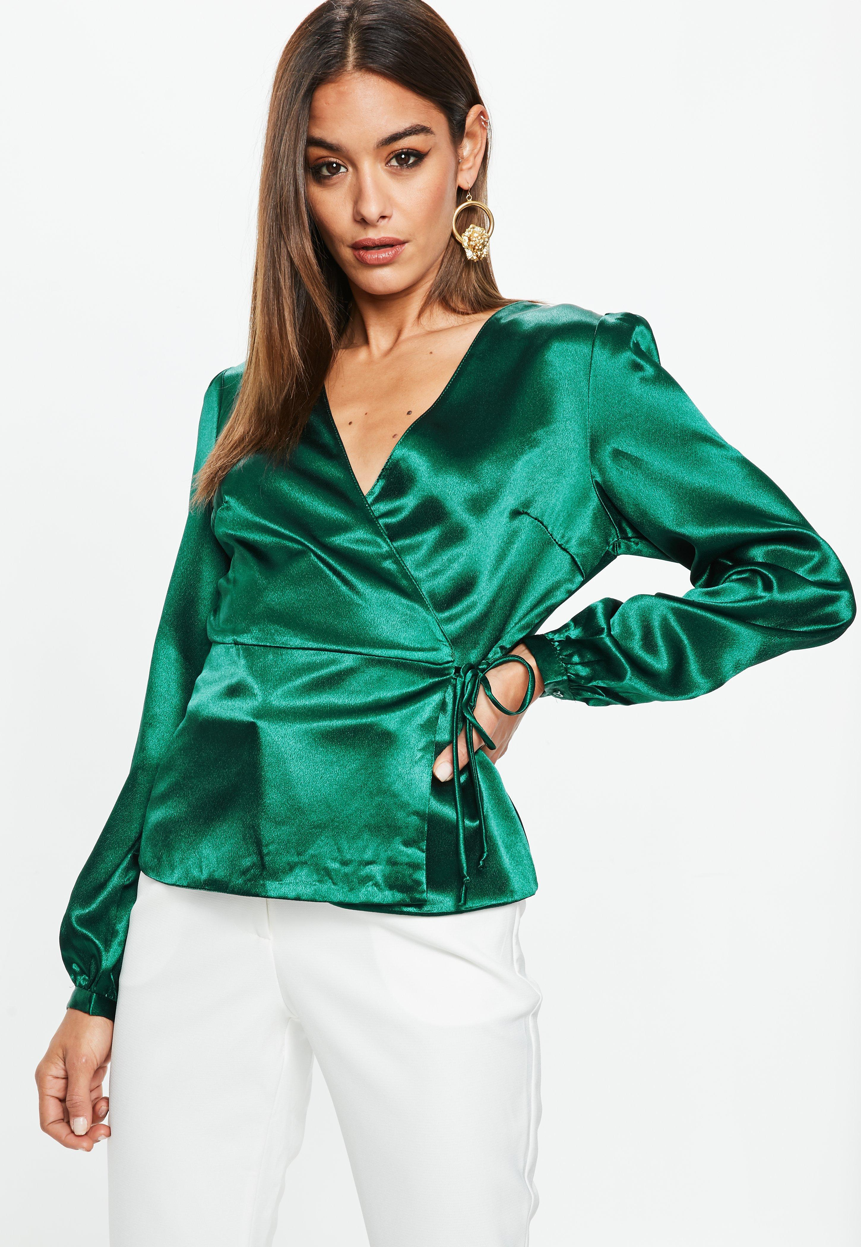 Missguided Green Satin Wrap Front Blouse Lyst