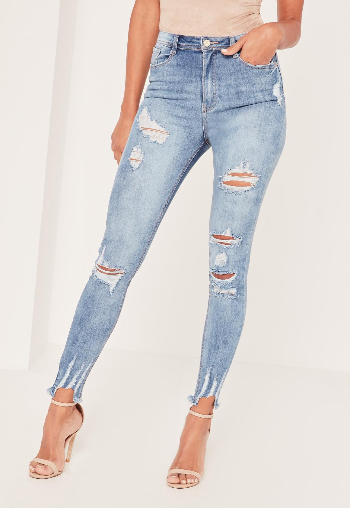 Missguided - Blue Sinner High Waisted Authentic Ripped Skinny Jeans - Lyst.  View fullscreen d8bcf603a016