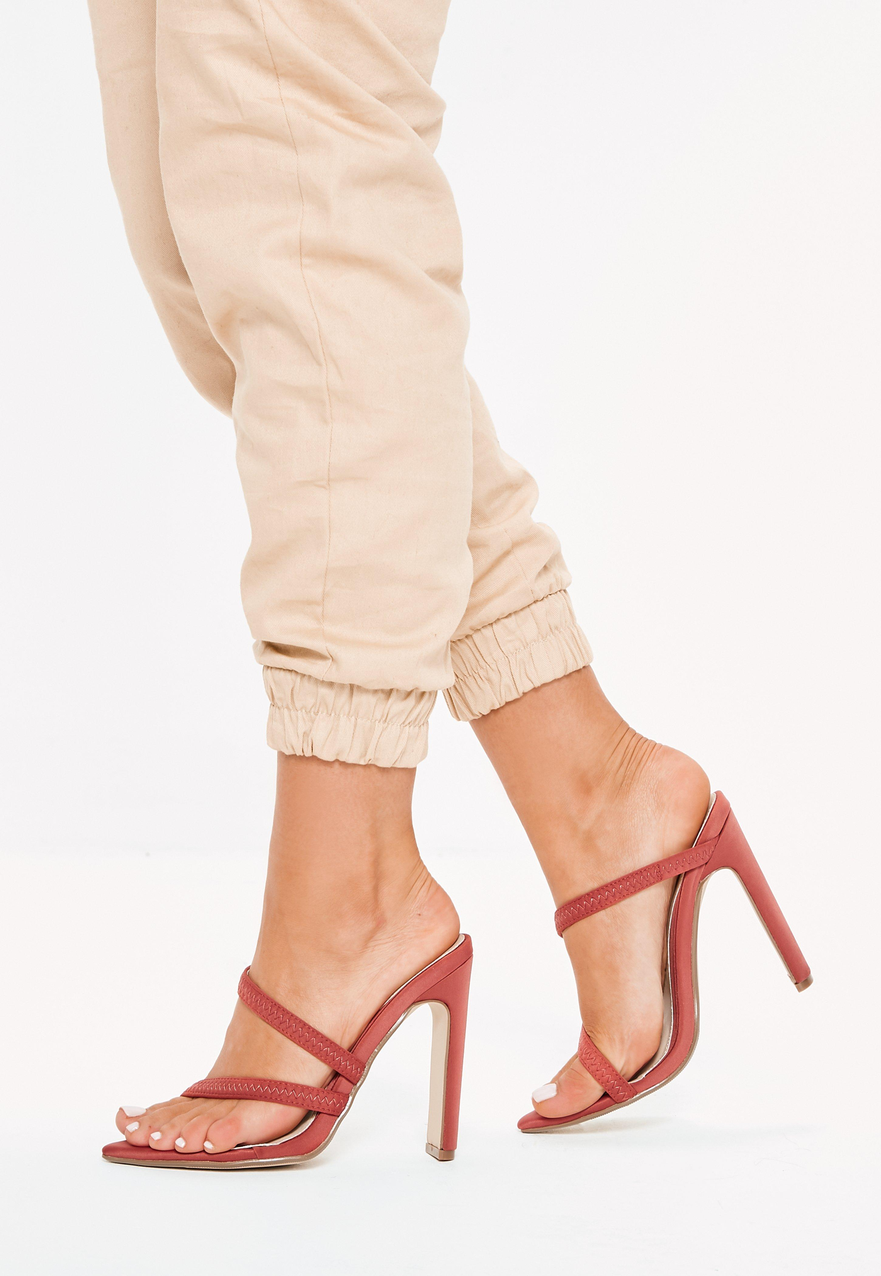 9ddad7781e59 Missguided Terracotta Pointed Toe Barely There Heels in Natural - Lyst