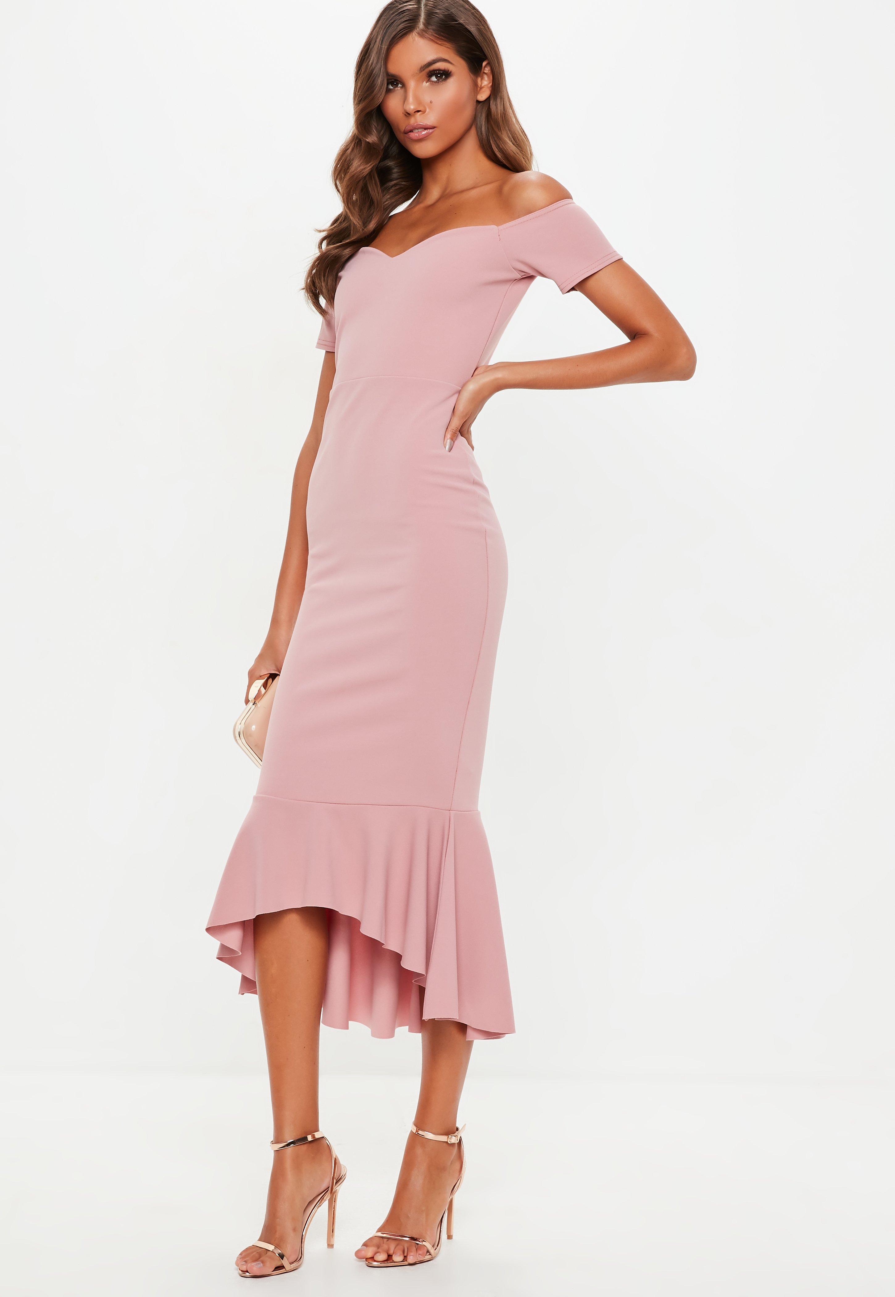 b04a92d75d0c2 Missguided Rose Pink Bardot Fishtail Hem Midi Dress in Pink - Lyst