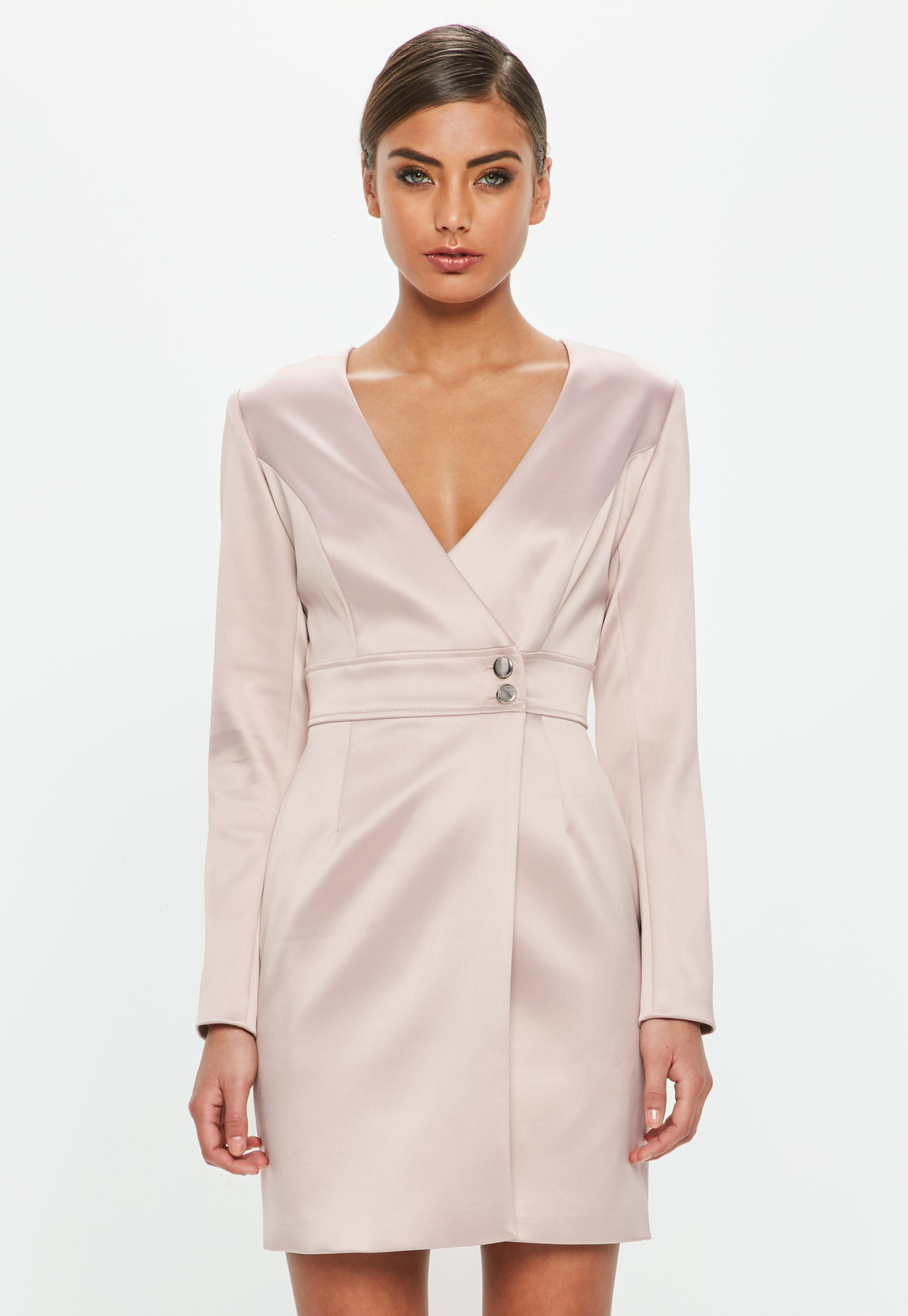 4803c385dca Missguided Peace + Love Pink Satin Tailored Wrap Dress in Pink - Lyst