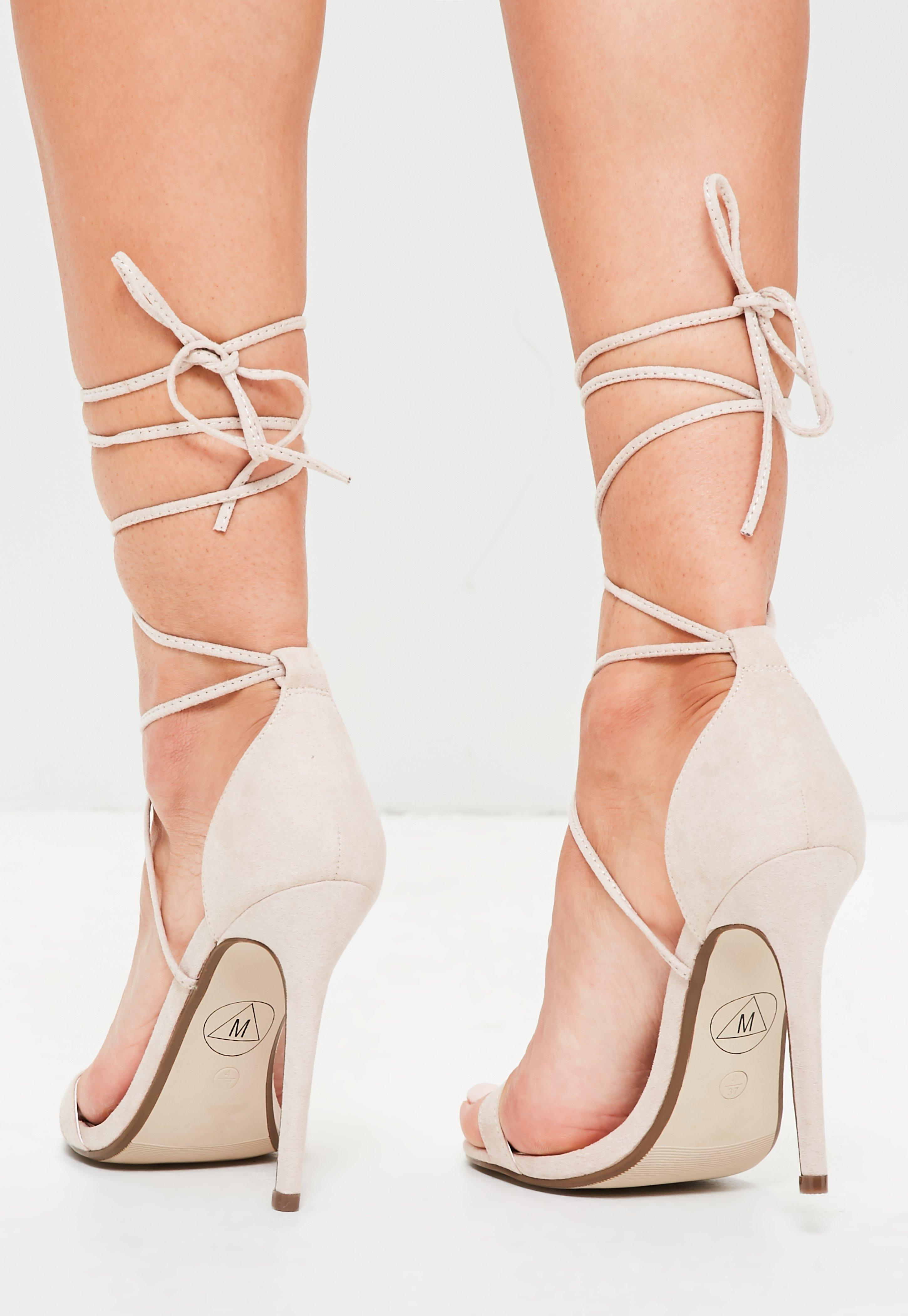 84a4ea47ea Missguided Lace Up Barely There Heeled Sandals Nude in Natural - Lyst