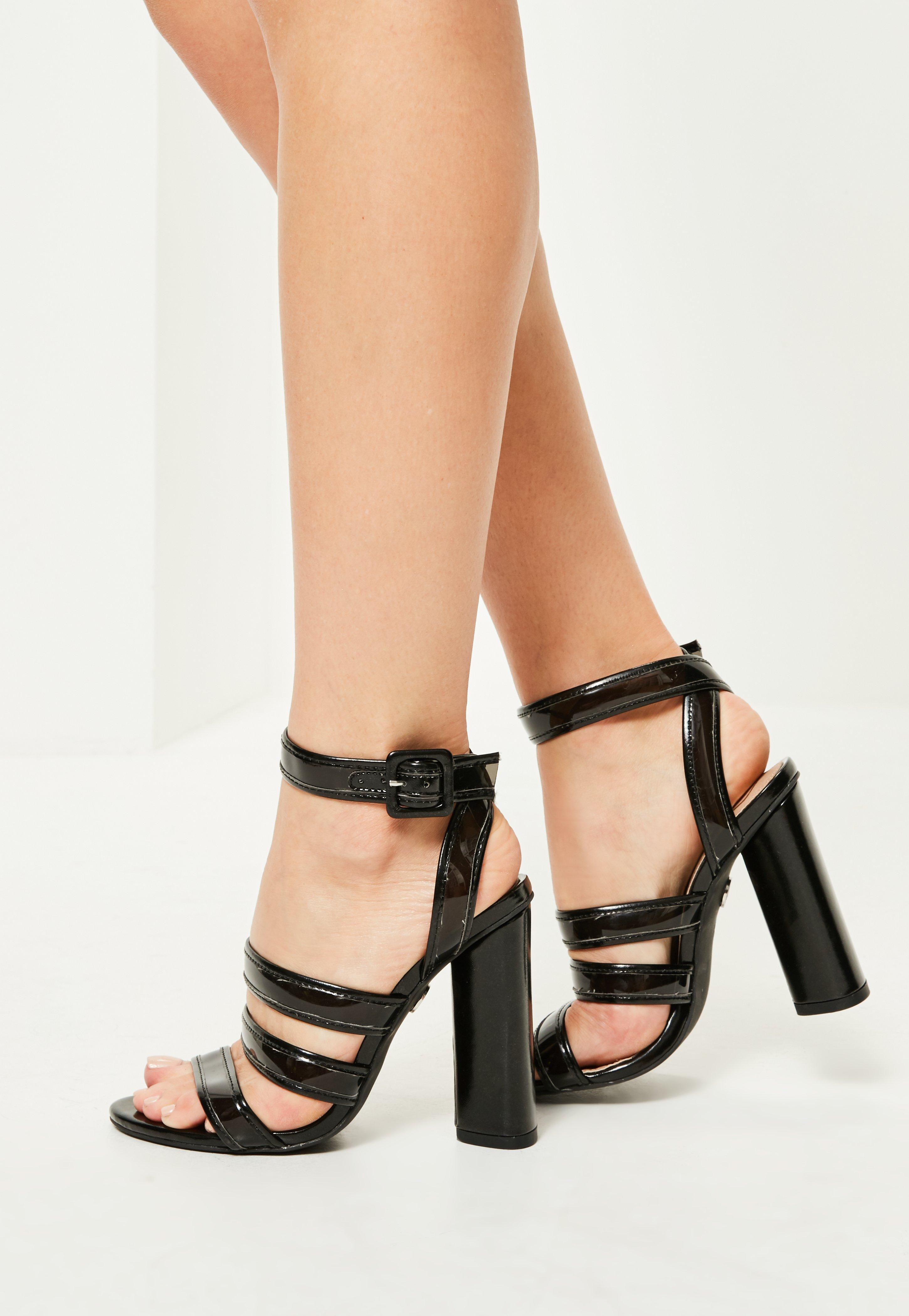 08759d6c2d3 Lyst - Missguided Black Multi Strap Block Heeled Sandals in Black