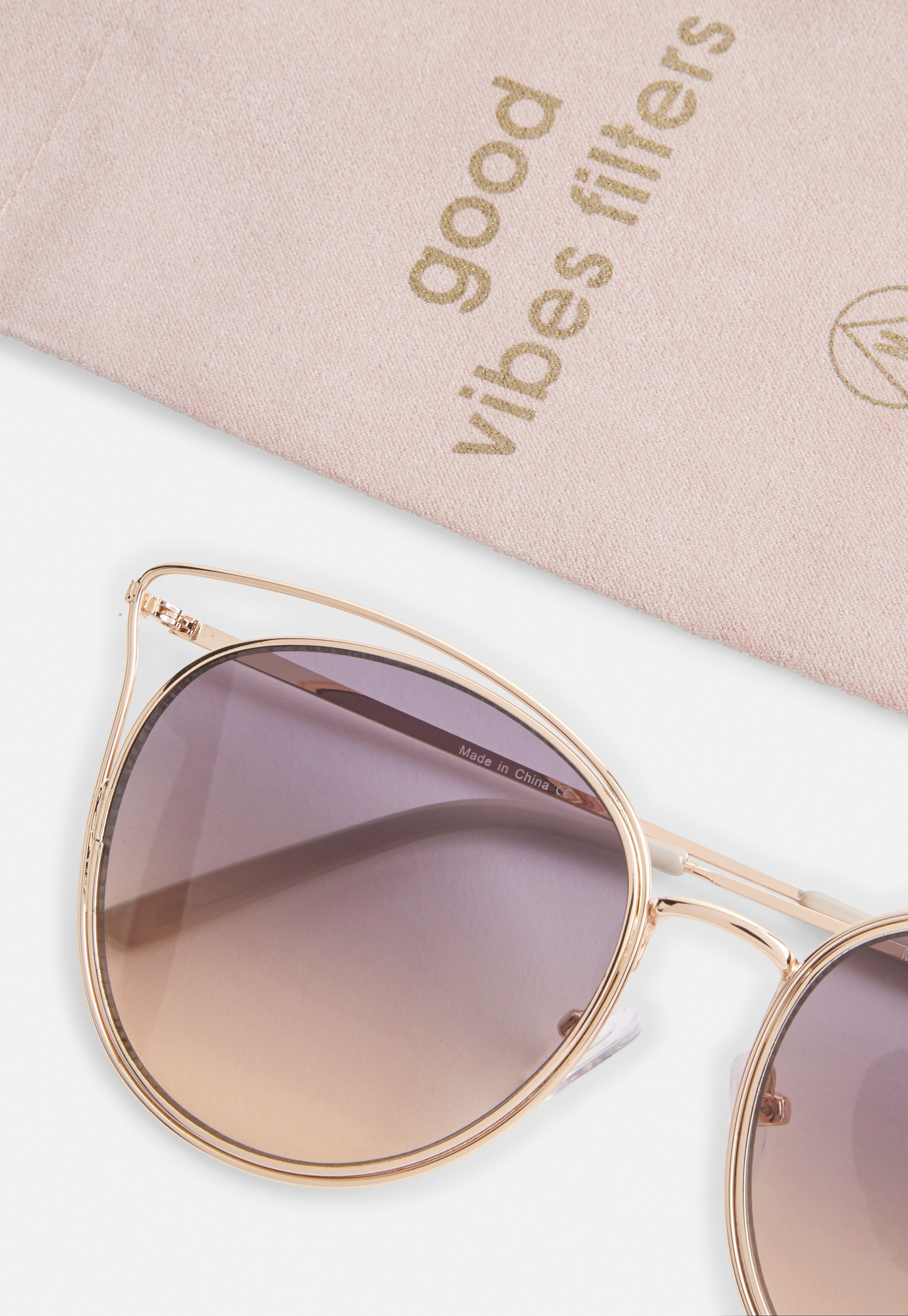 Missguided Gold Wire Cat Eye Sunglasses in Metallic