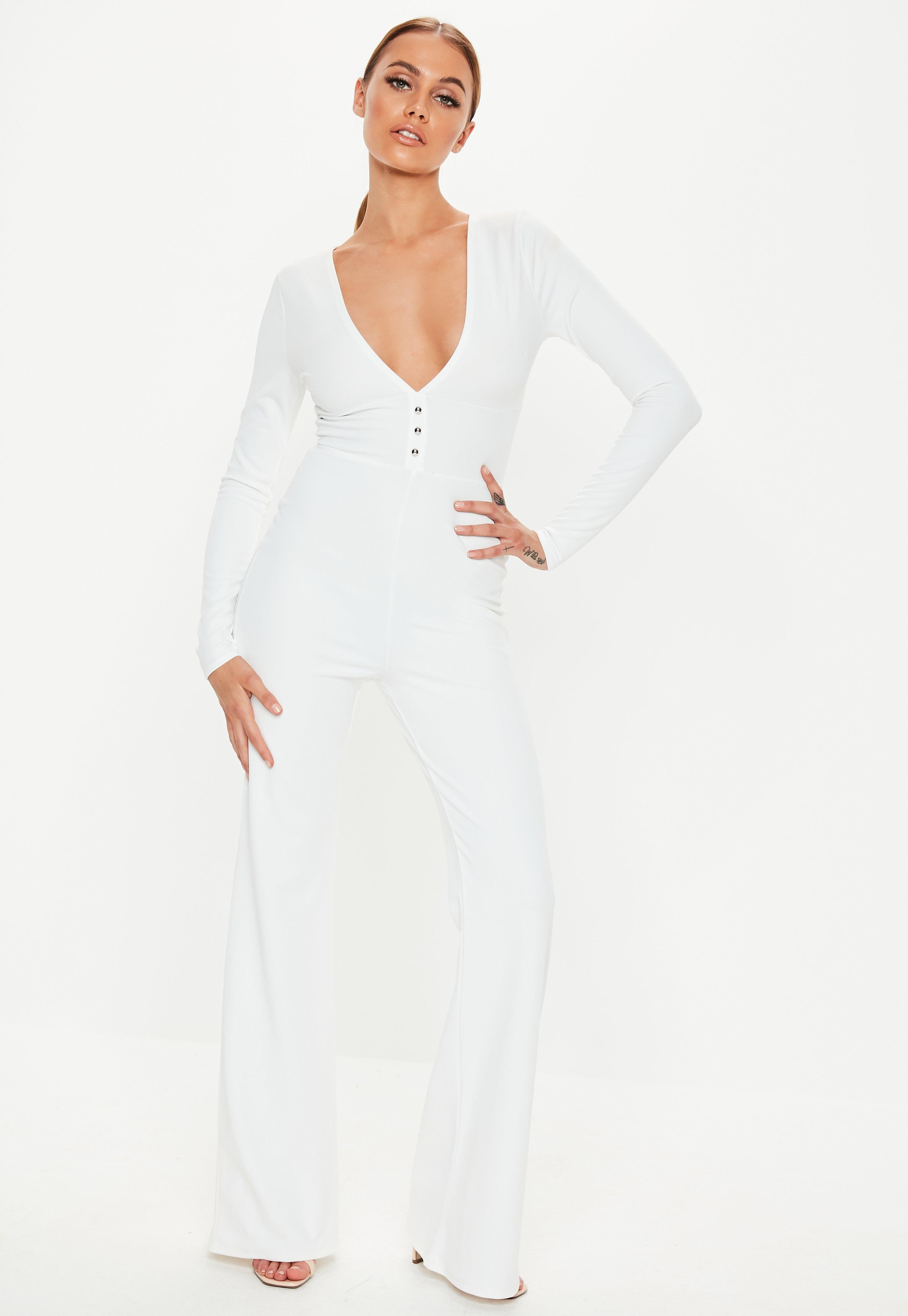f326135799e9 Lyst - Missguided White Plunge Button Front Wide Leg Jumpsuit in White
