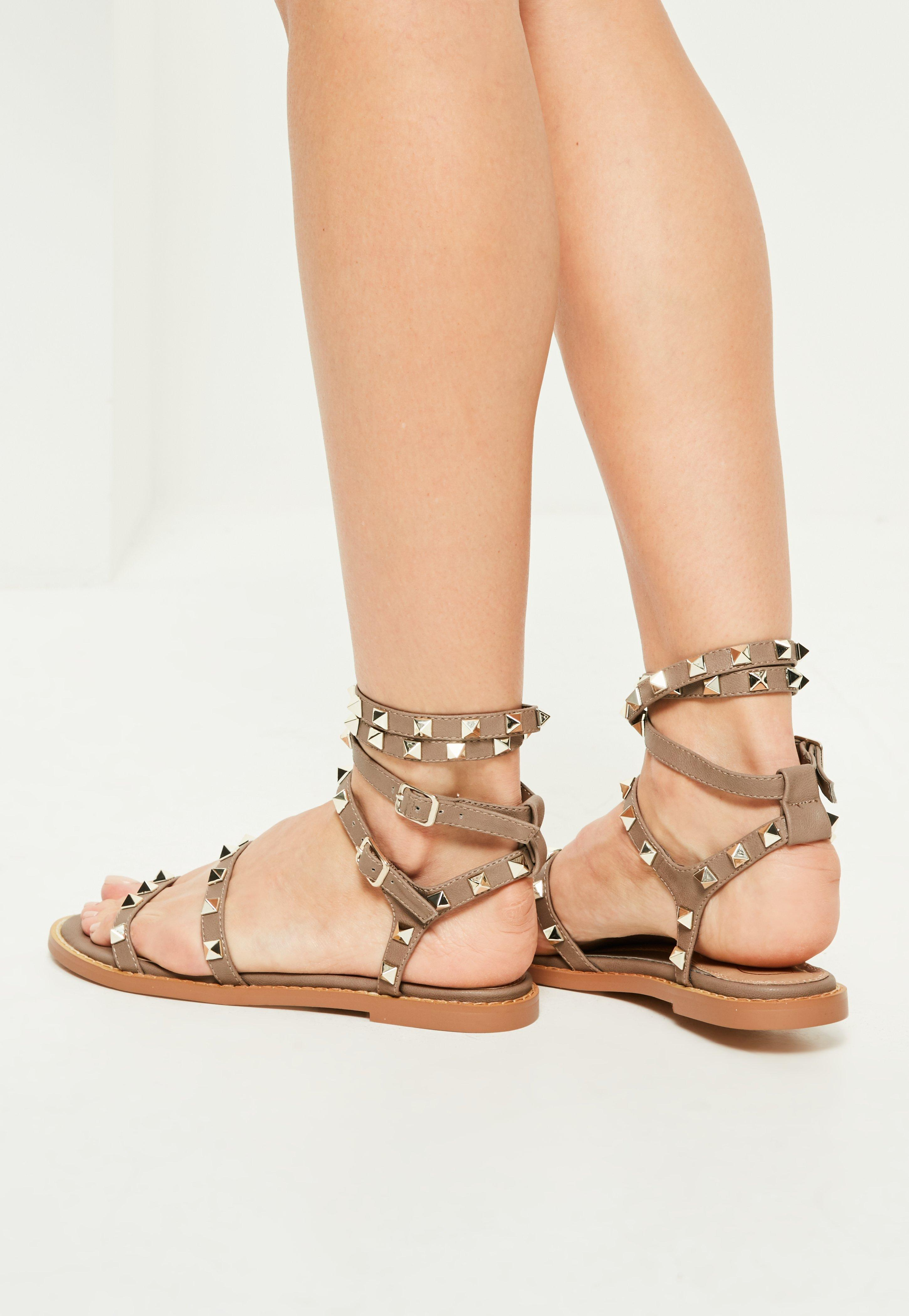 Missguided Brown Studded Gladiator Sandals In Brown Lyst